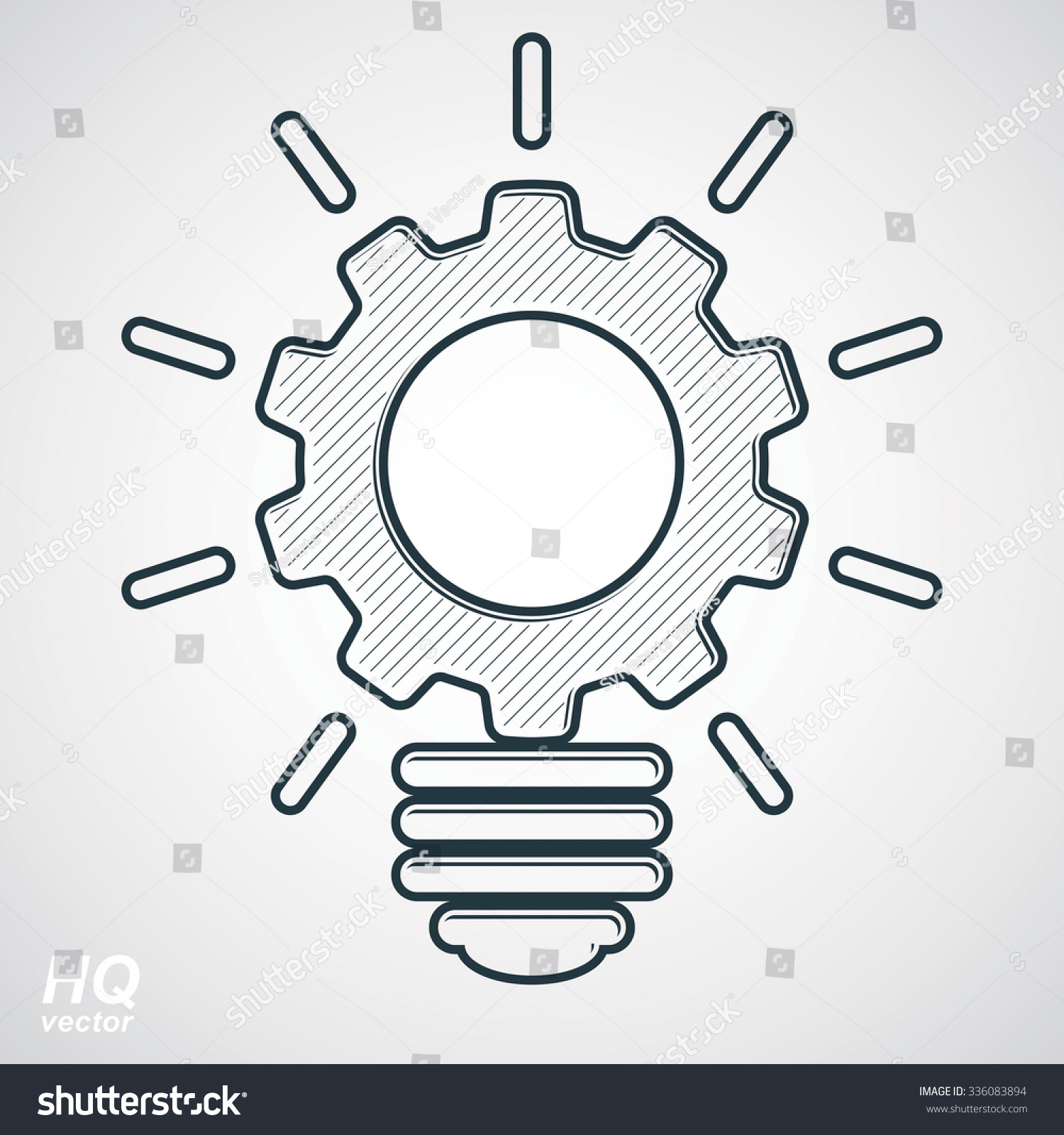 Electricity Light Bulb Symbol, Insight Emblem. Vector Brain Storm ...