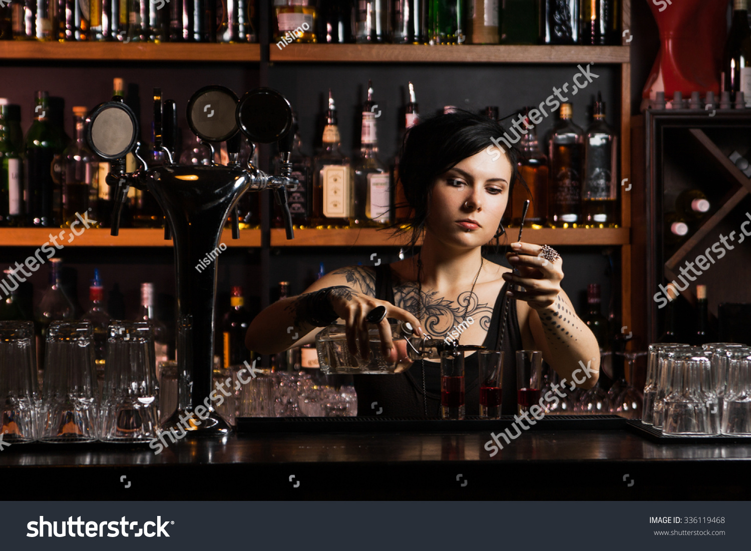 Attractive bartender cocktail stock photo 336119468 for Cocktail bartender