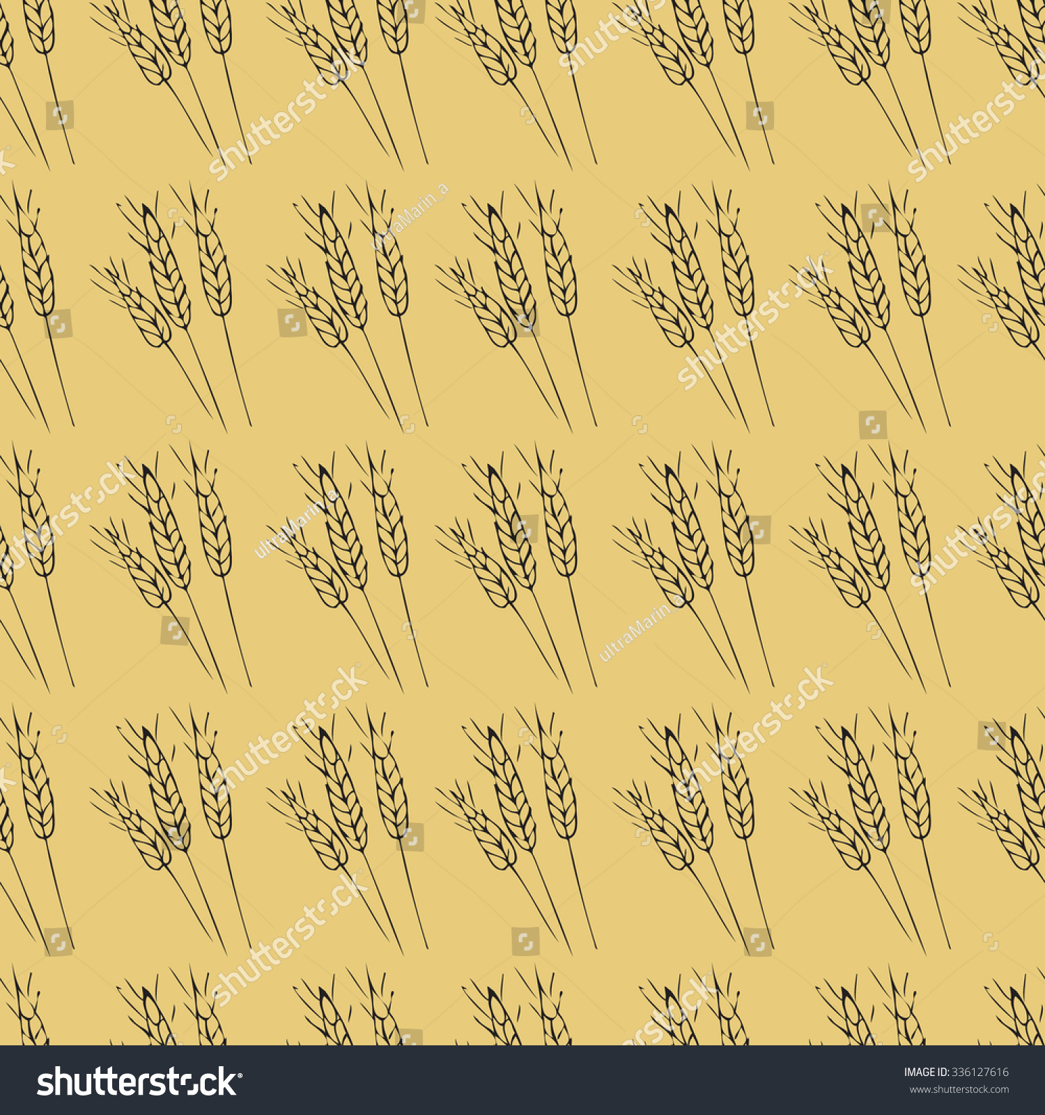 Seamless Wheat Pattern Hand Drawnvector Illustrationbakery Stock