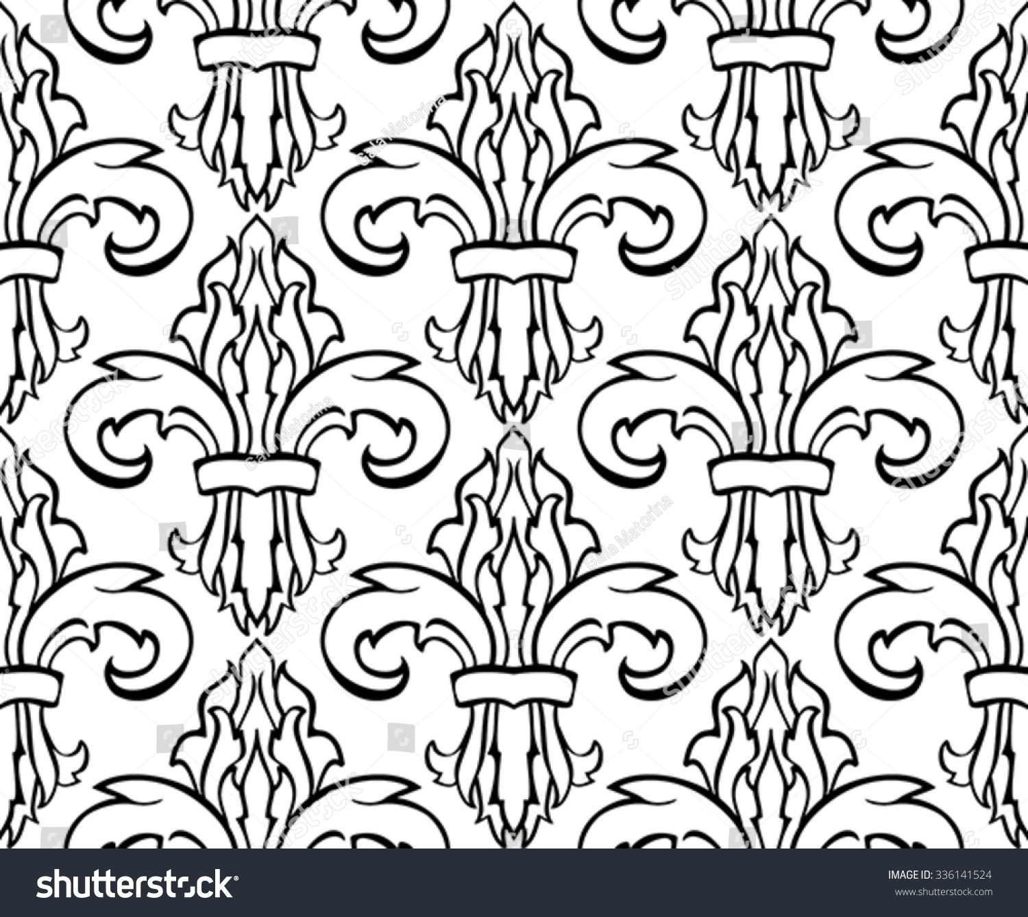 Classic Seamless Pattern Damask Simple Vector Stock Vector ...