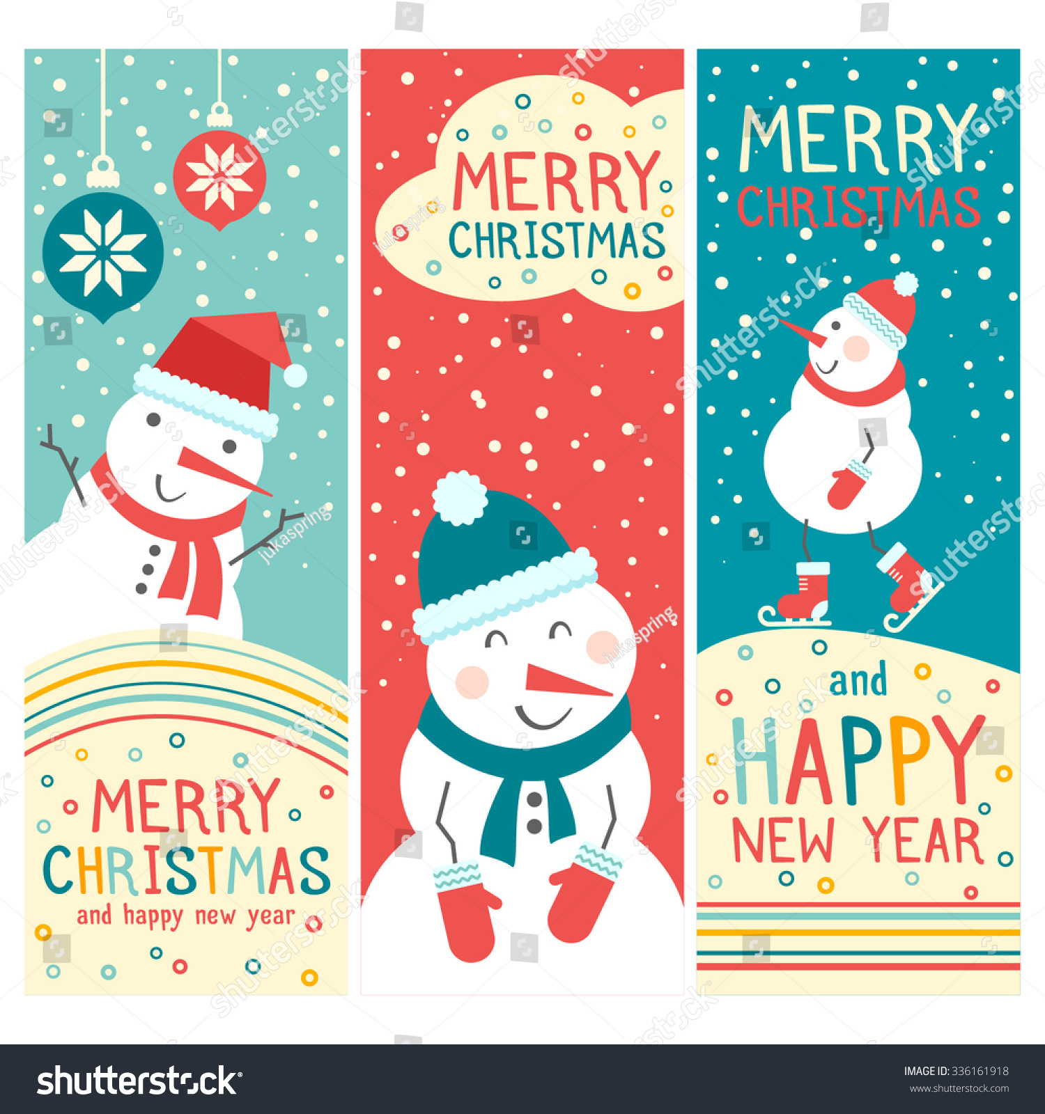 Vector cheerful christmas cards snowman merry stock vector vector cheerful christmas cards with snowman merry christmas and happy new year lovely banners kristyandbryce Gallery