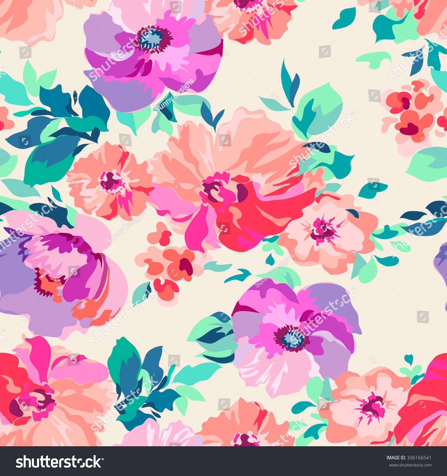 Romantic Floral Seamless Background Stock Vector 336166541
