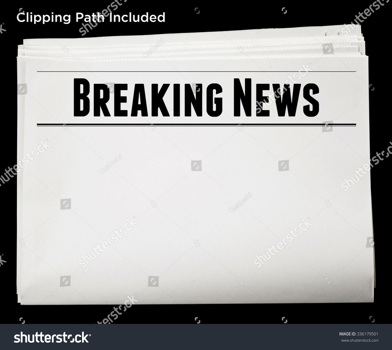 newspaper breaking news headline blank content stock photo (edit now