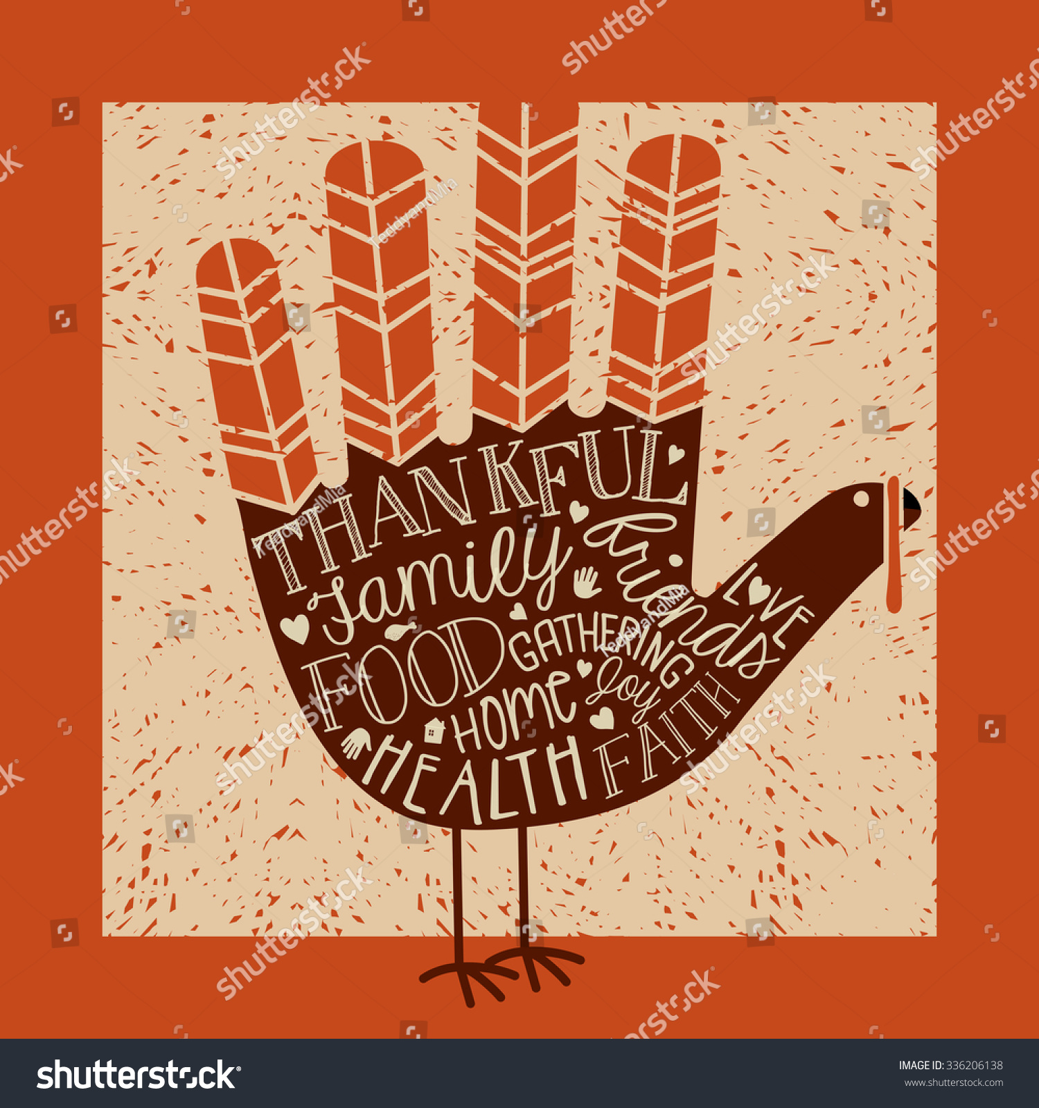 Thanksgiving card design theme message cute stock vector 336206138 thanksgiving card design with theme message and cute hand print turkey kristyandbryce Choice Image
