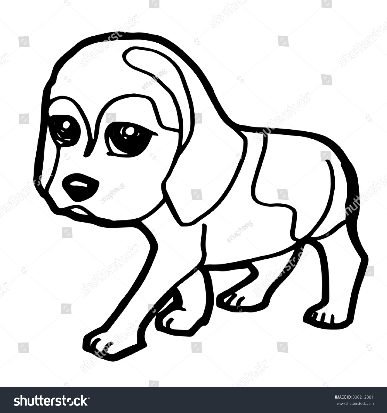 cute dog coloring page vector