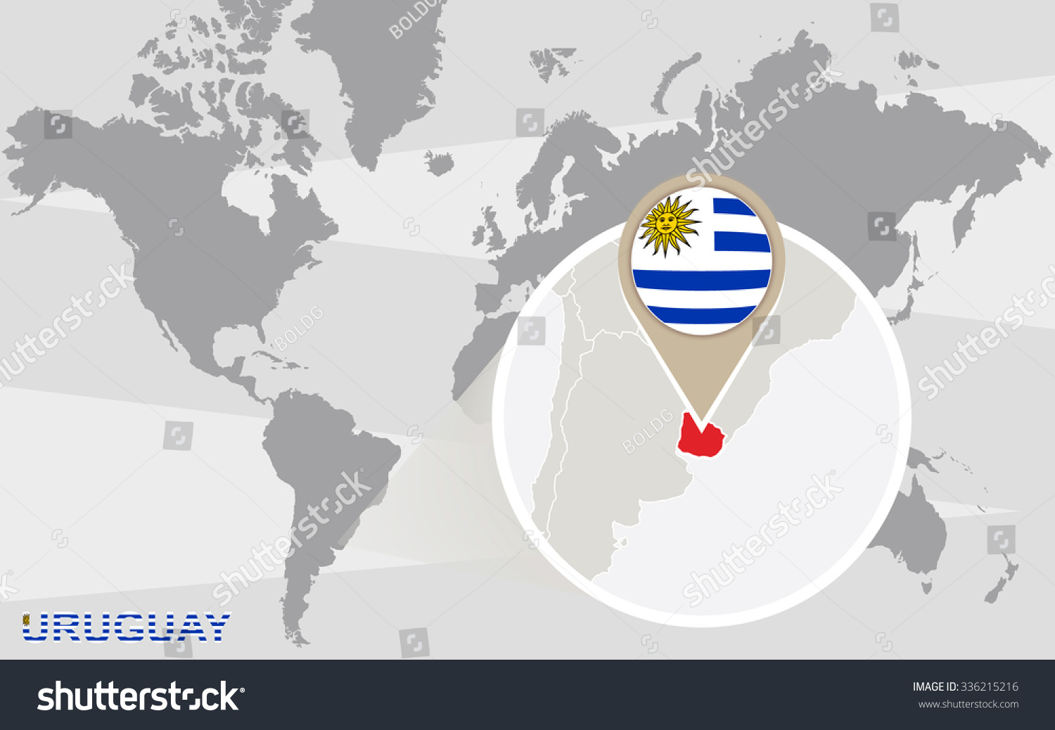 World map magnified uruguay uruguay flag stock illustration world map with magnified uruguay uruguay flag and map rasterized copy gumiabroncs Image collections