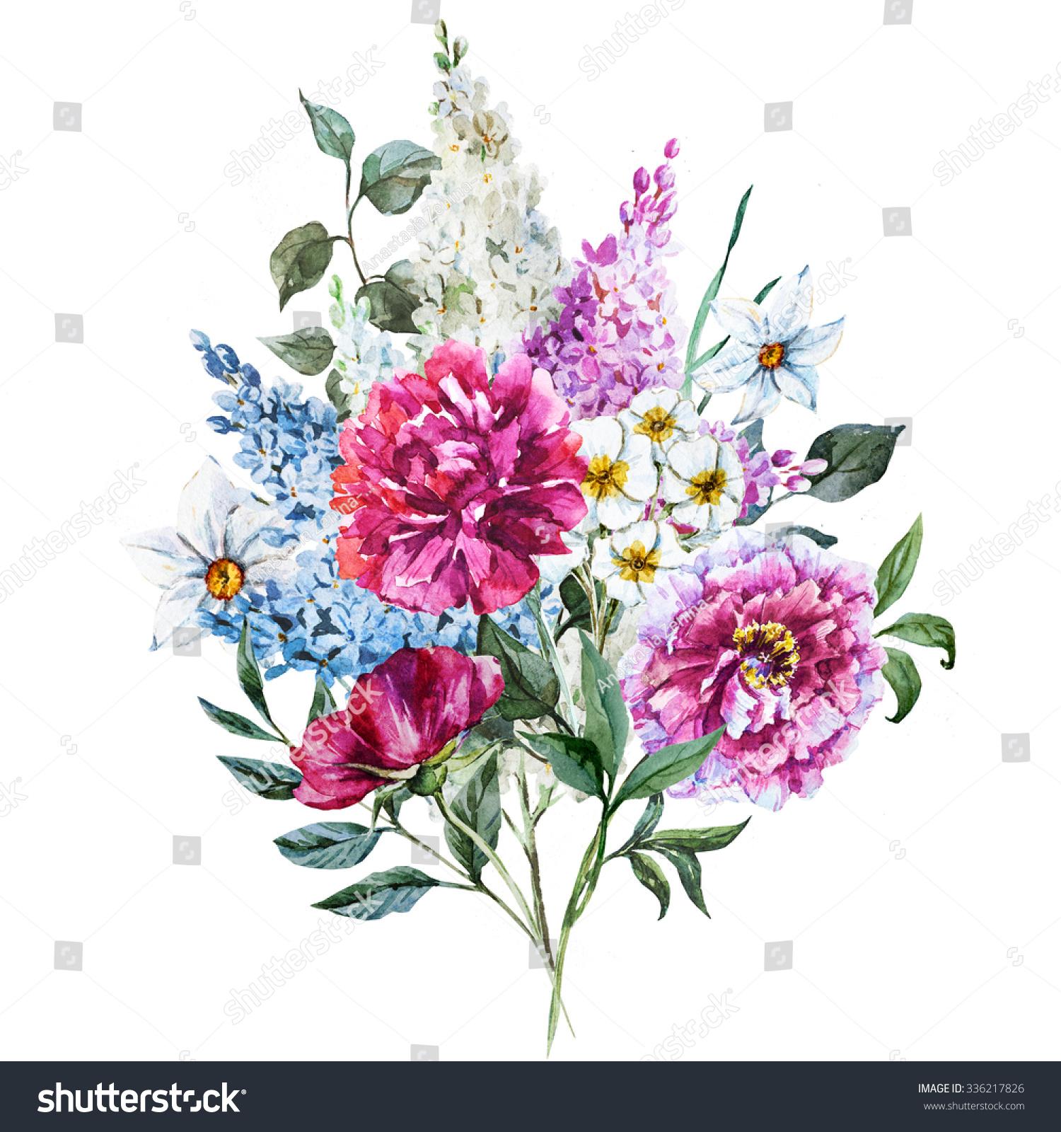 Watercolor Floral Design Vintage Greeting Floral Stock ...