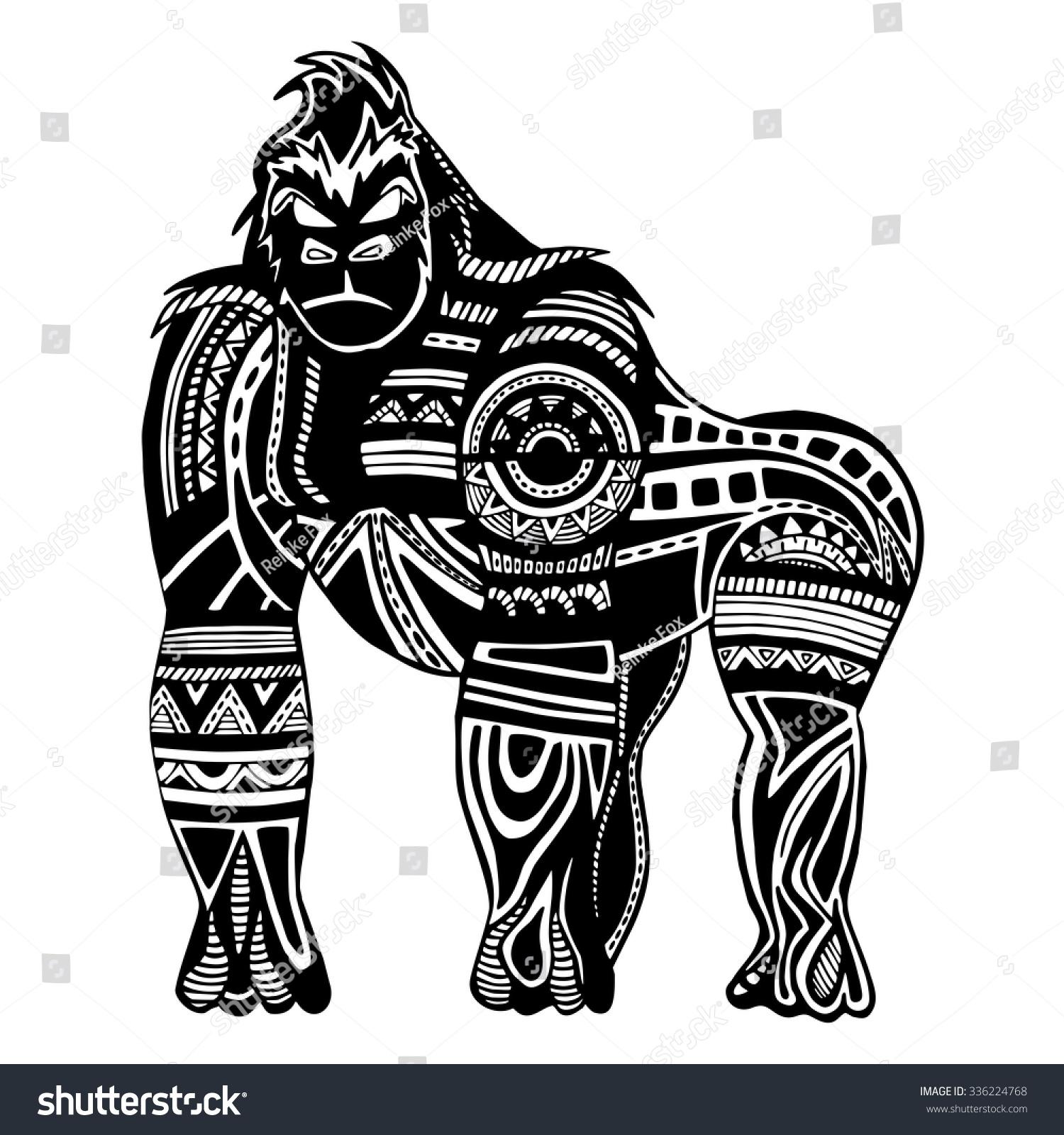 Ethnic Black Gorilla Silhouette African Totem Tattoo