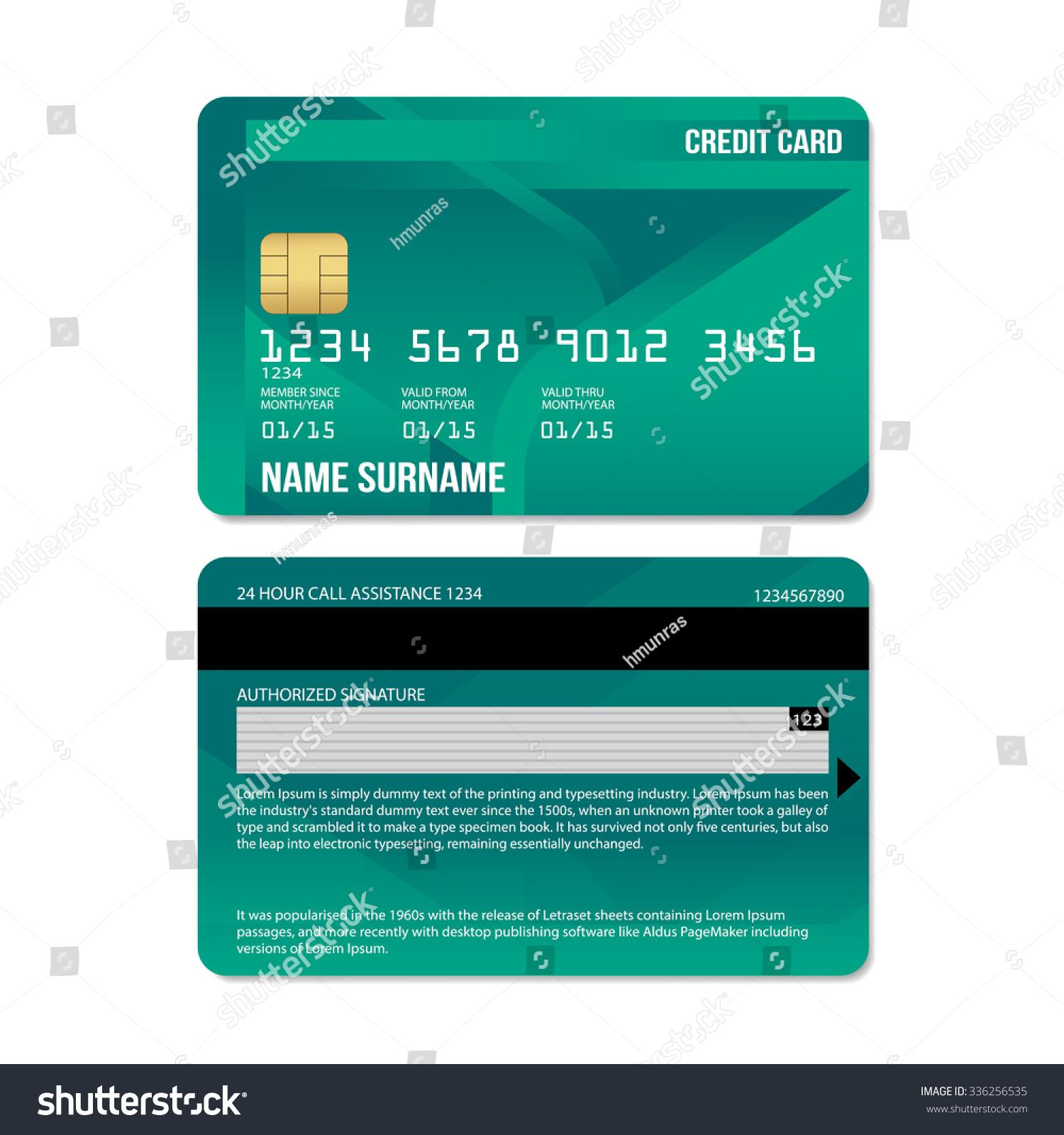 credit card specimen