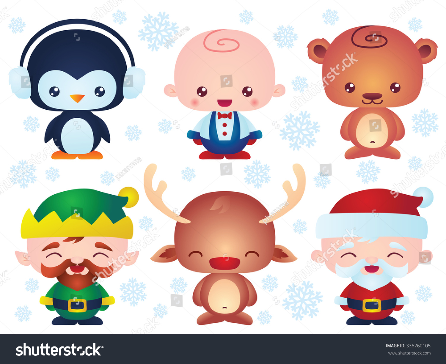 Set Cute Christmas Baby Characters Contain Stock Vector (Royalty ...
