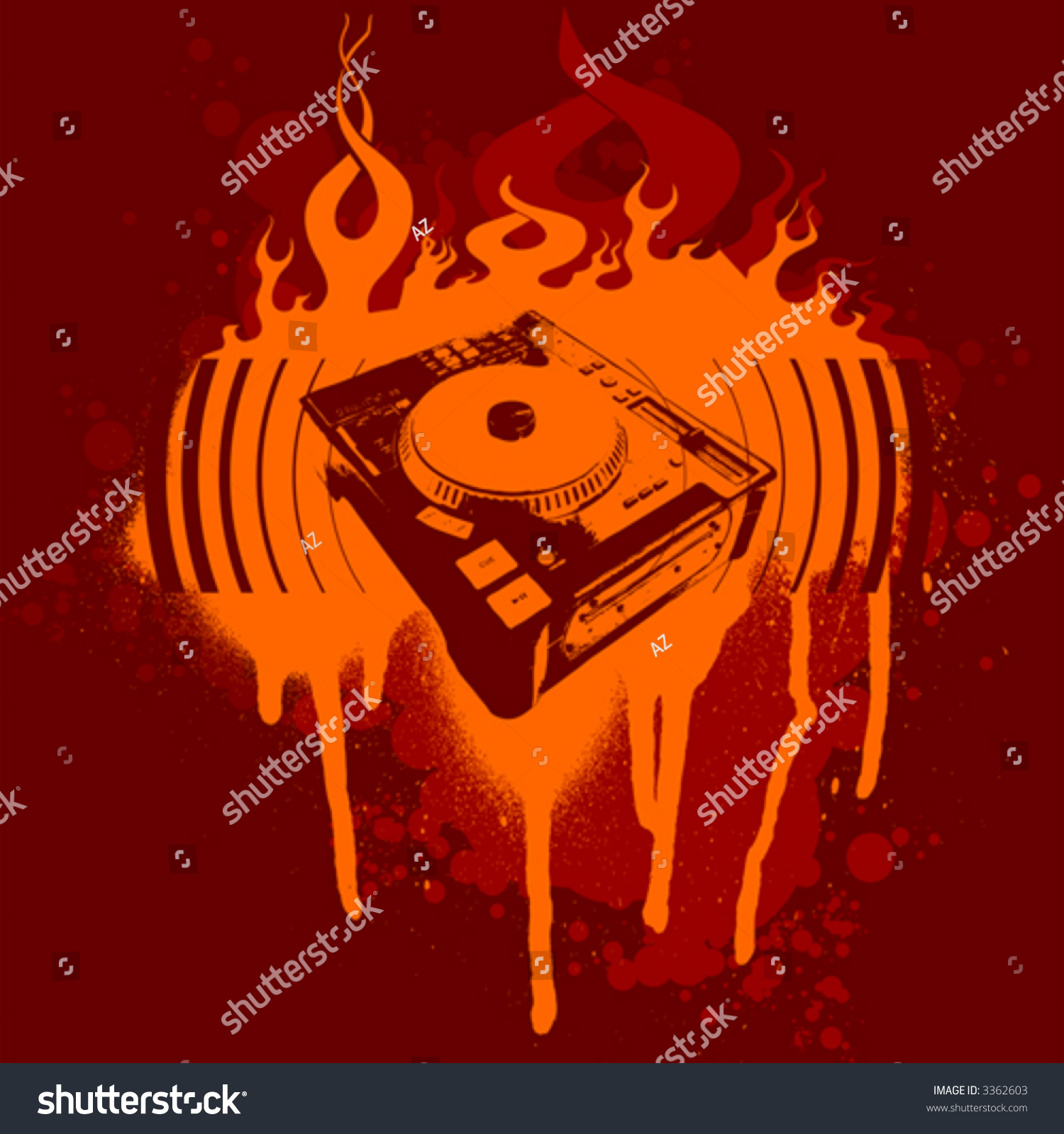Turntable red graffiti vector illustration no meshes stock photo