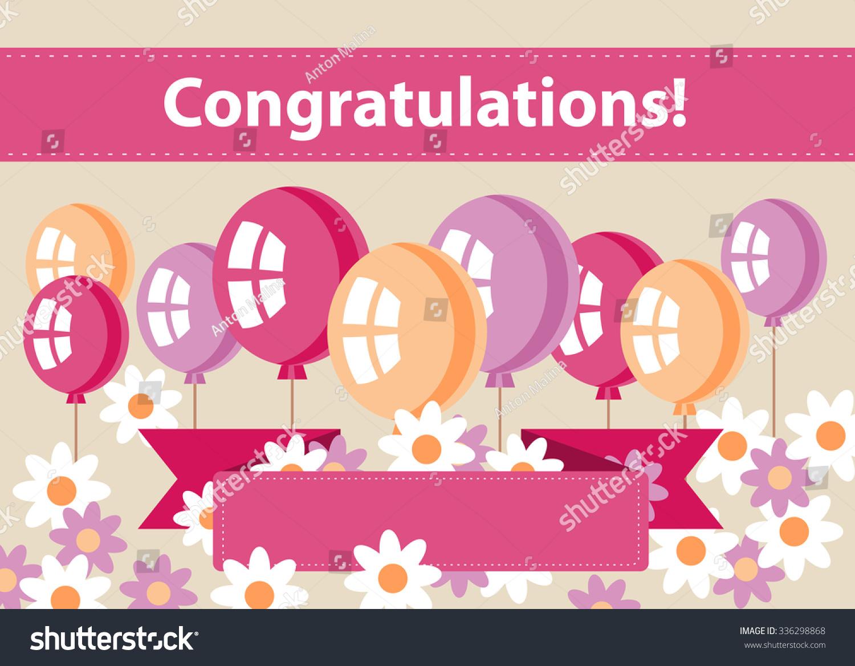 balloons daisy ribbon banner text congratulations stock vector