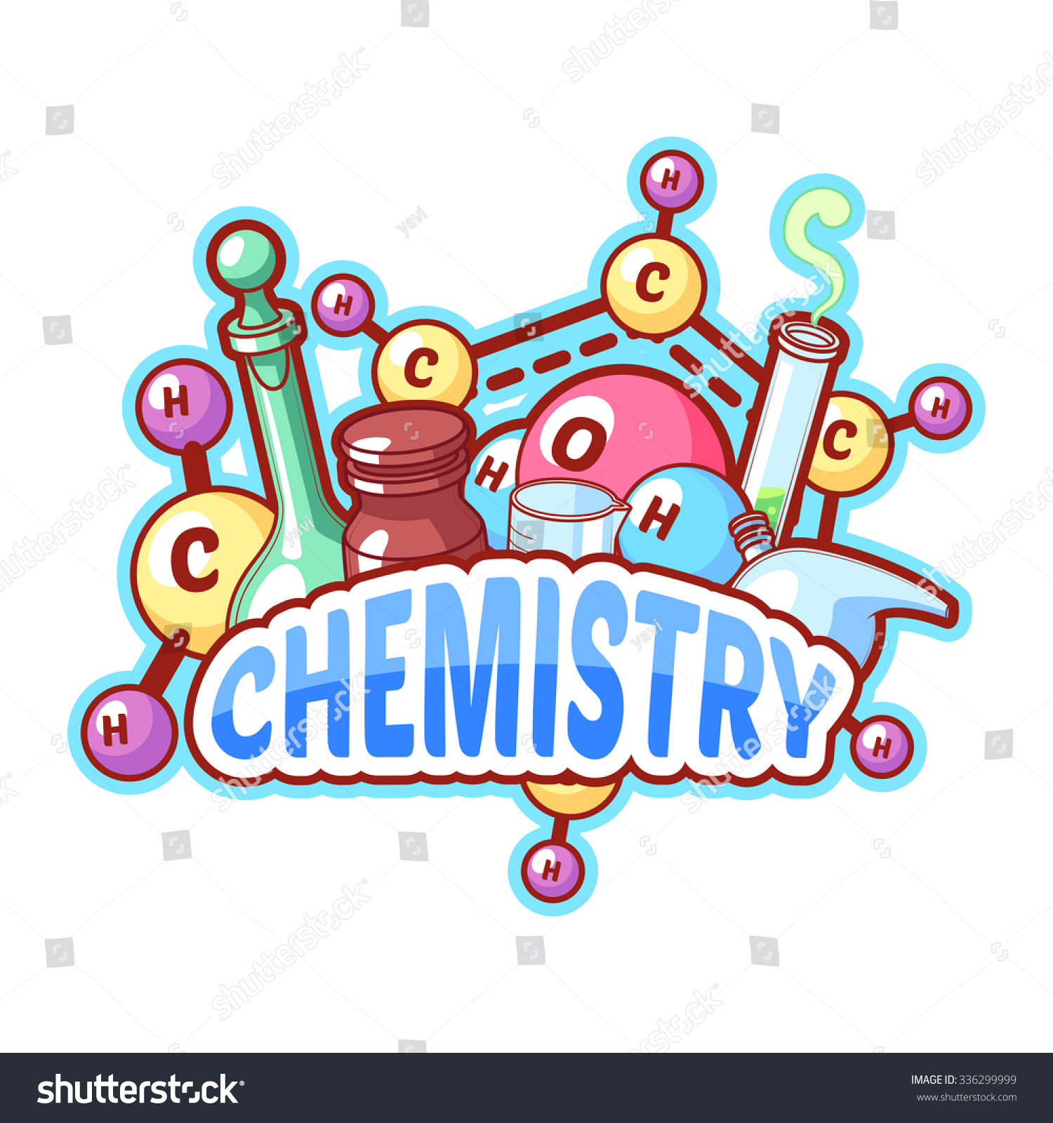 Chemistry Title Chemical Elements Flasks On Stock Vector 336299999 pertaining to Clip Art Poster Design