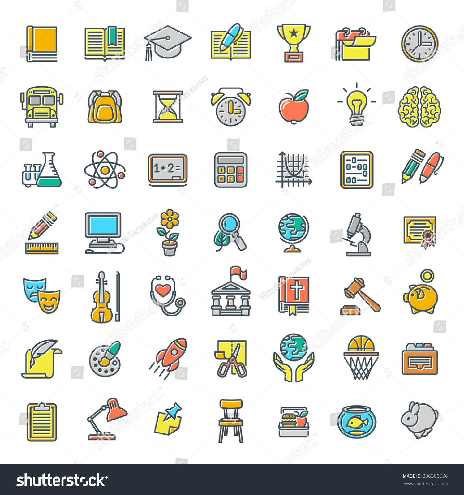 set of modern flat line colorful icons of school subjects set of modern flat line colorful icons of school subjects activities education and science