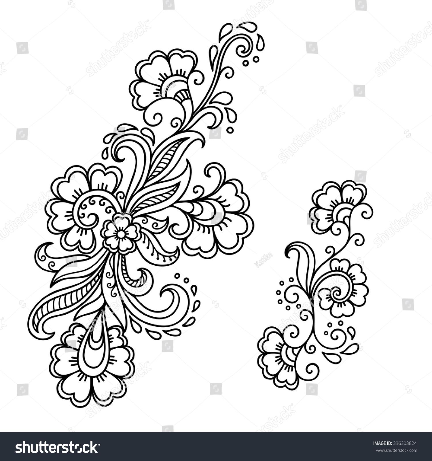 Henna Tattoo Vector: Henna Tattoo Flower Templatemehndi Stock Vector 336303824
