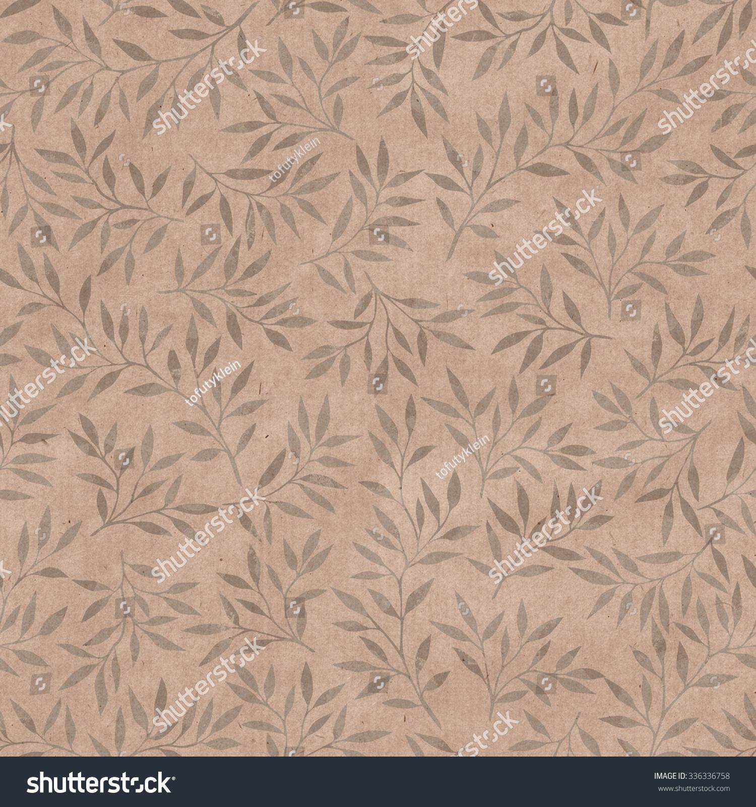 Vintage Wallpaper Leaves Seamless Pattern Paper Stock Illustration
