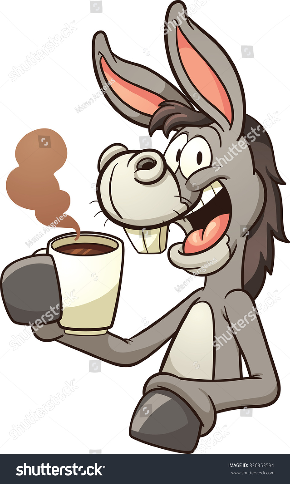 Cartoon Donkey Drinking Coffee Vector Clip Stock Vector 336353534 ...