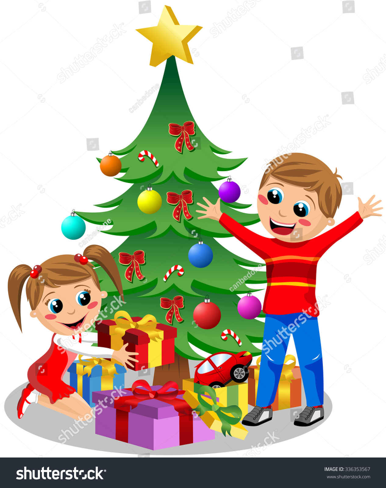 Happy Kids Opening Christmas Gifts Next Stock Vector (Royalty Free ...