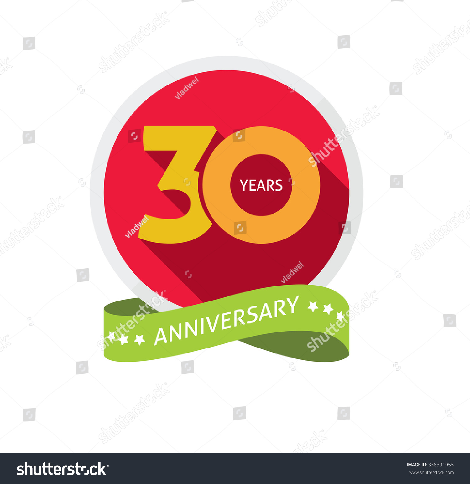 30 Year Anniversary Symbol: 30th Anniversary Logo Template Shadow Number Stock Vector