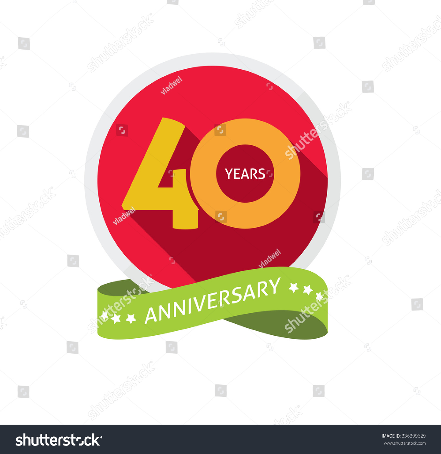 40th Anniversary Logo Template Shadow On Stock Vector Royalty Free