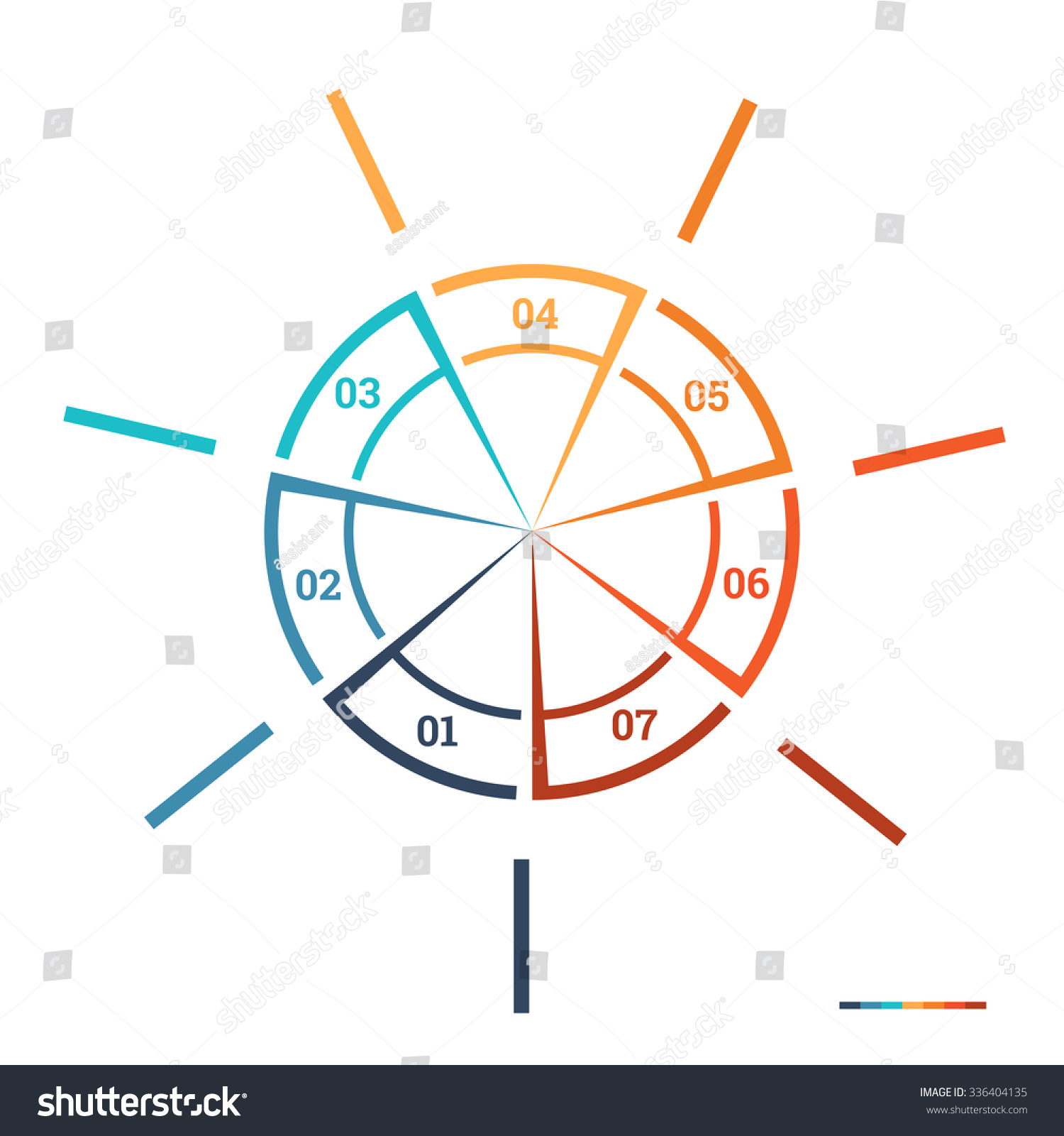 Infographic Pie Chart Template Colourful Circle Stock Illustration