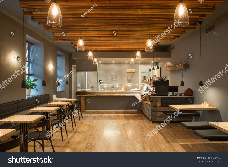 Interior Of Restaurant Wooden Design Stock Photo