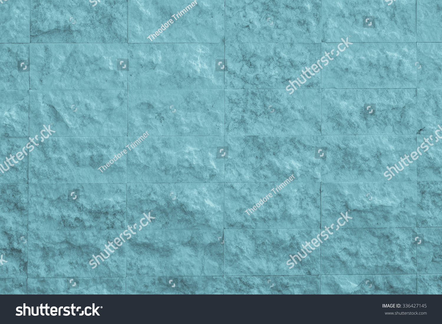 Light Blue Stone Wall. Pale Blue Stone Wall With Tones Of Turquoise, White,