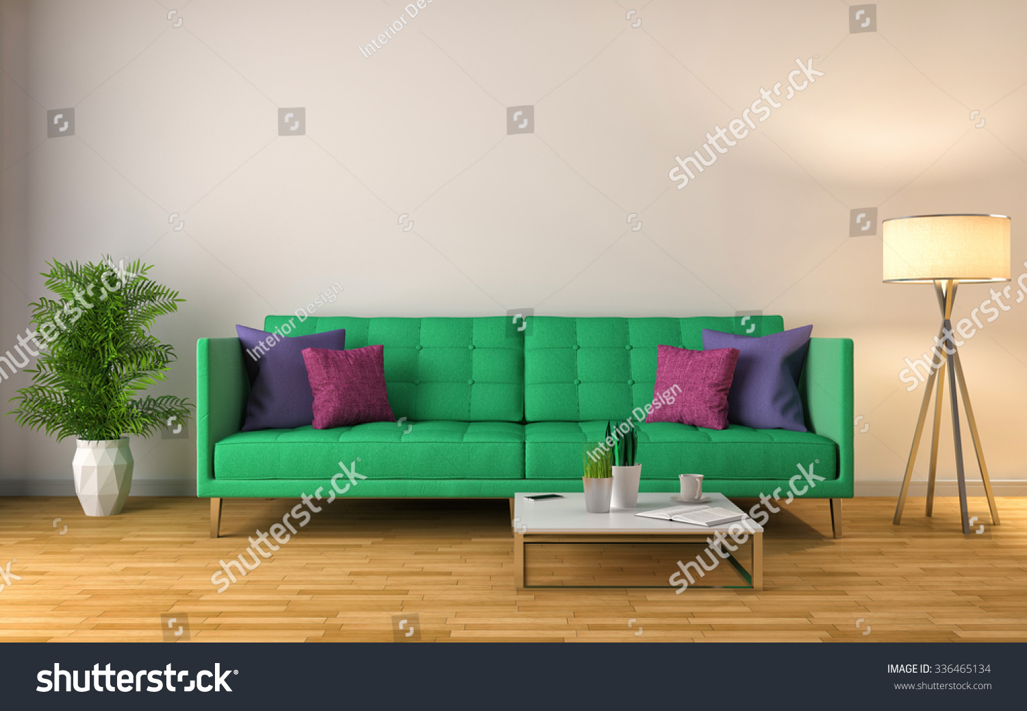interior with green sofa 3D illustration