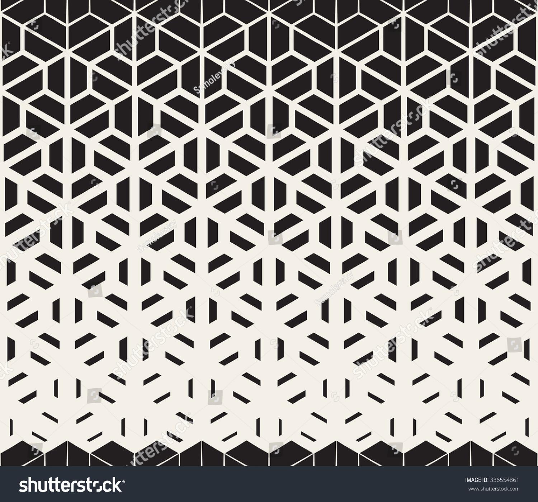 Line Art Vs Halftone : Vector seamless black white hexagon triangle stock
