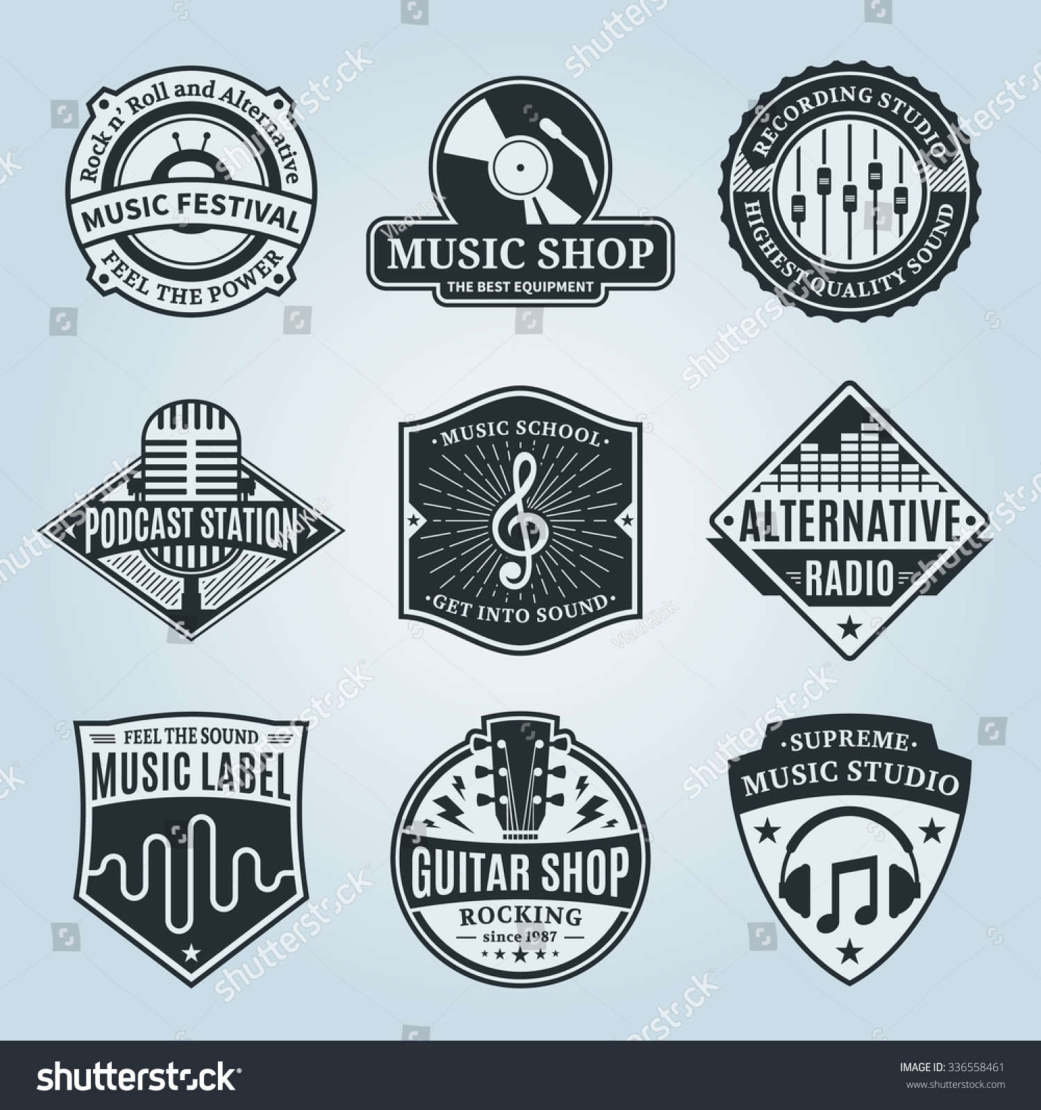 Set of vector music logo Music studio festival radio school and shop labels with sample text Music icons for audio store recording studio label podcast and radio station branding and identity