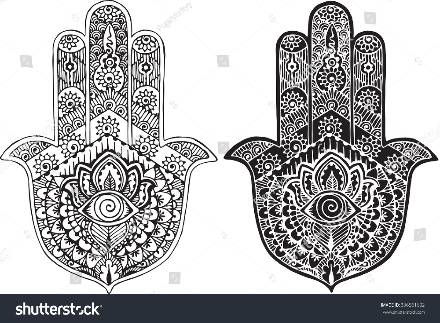 Hamsa painted in the style of mehndi