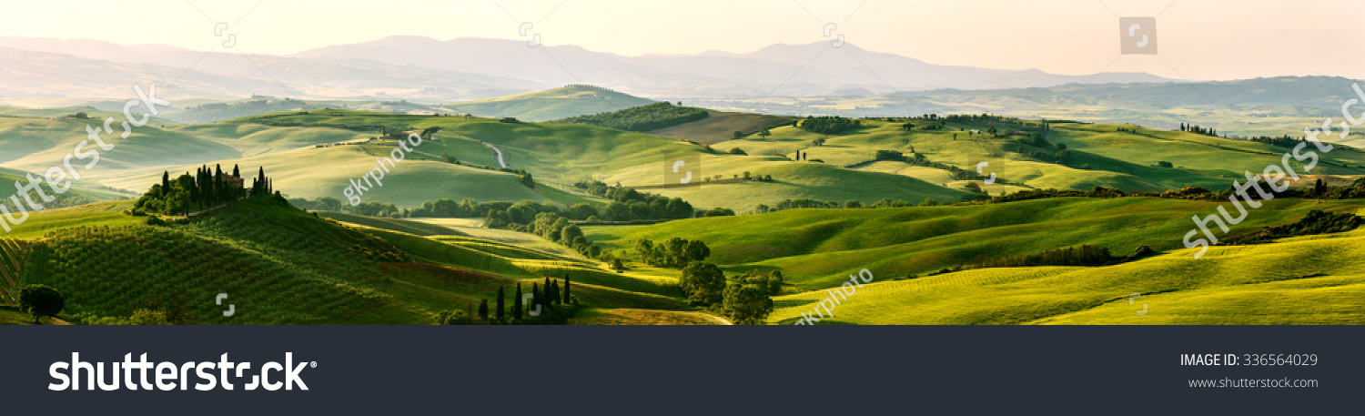 Beautiful and miraculous colors of green spring panorama landscape of Tuscany, Italy. #336564029