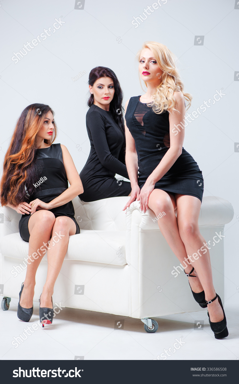 Fantastic Elegant Women Group Portrait Three Attractive Stock Photo Gmtry Best Dining Table And Chair Ideas Images Gmtryco