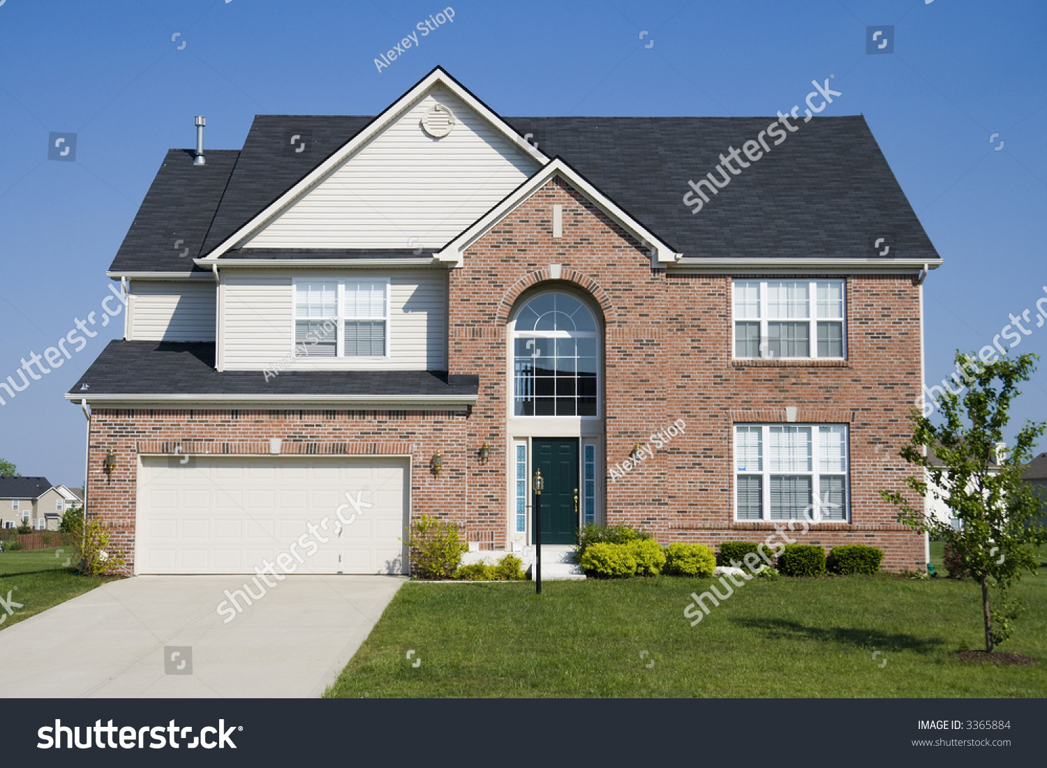 Typical Suburban Single Family House Midwest Stock Photo