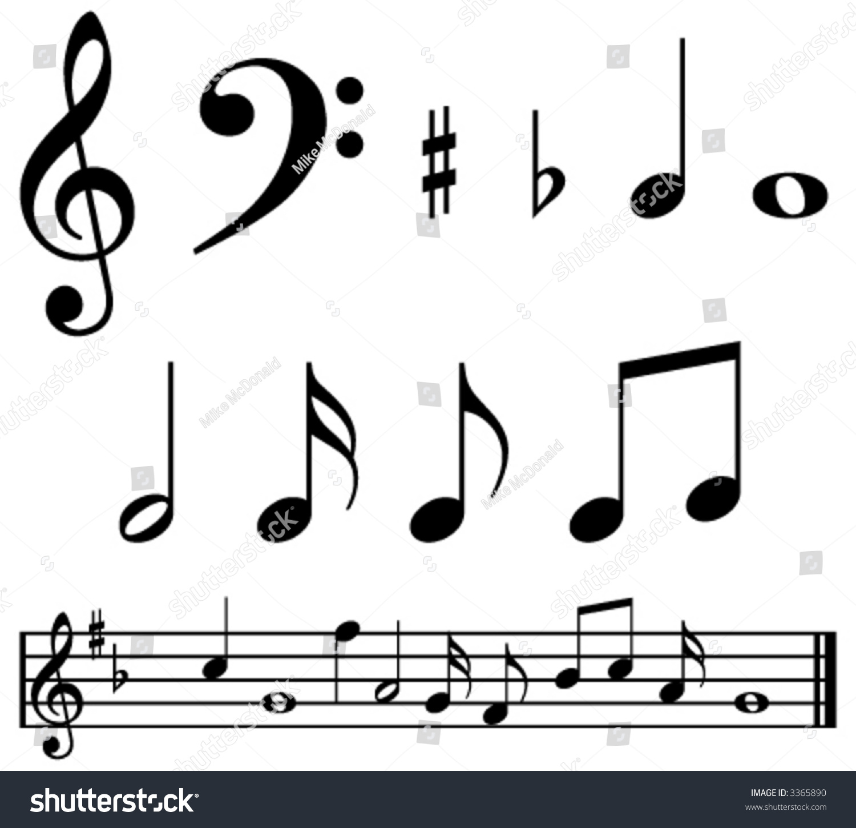 Music Notes Symbols Sample Music Bar Stock Vector Royalty Free