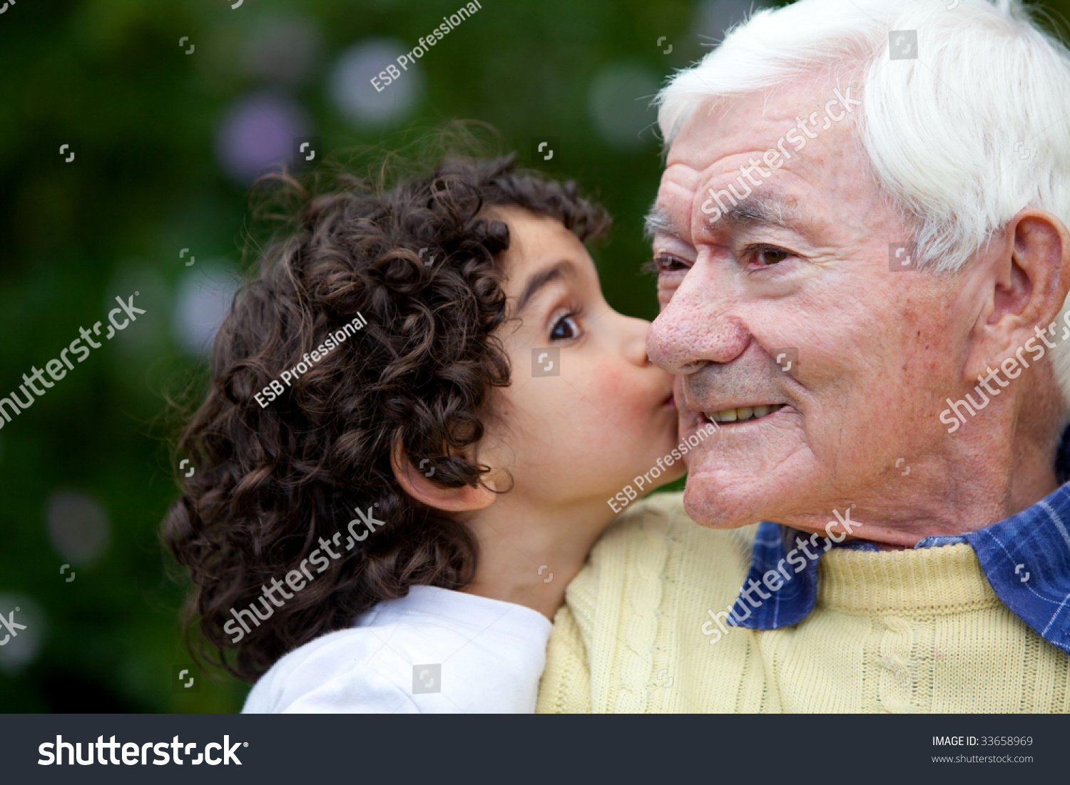 Beautiful Little Girl Kissing Happily Her Stock Photo -2123