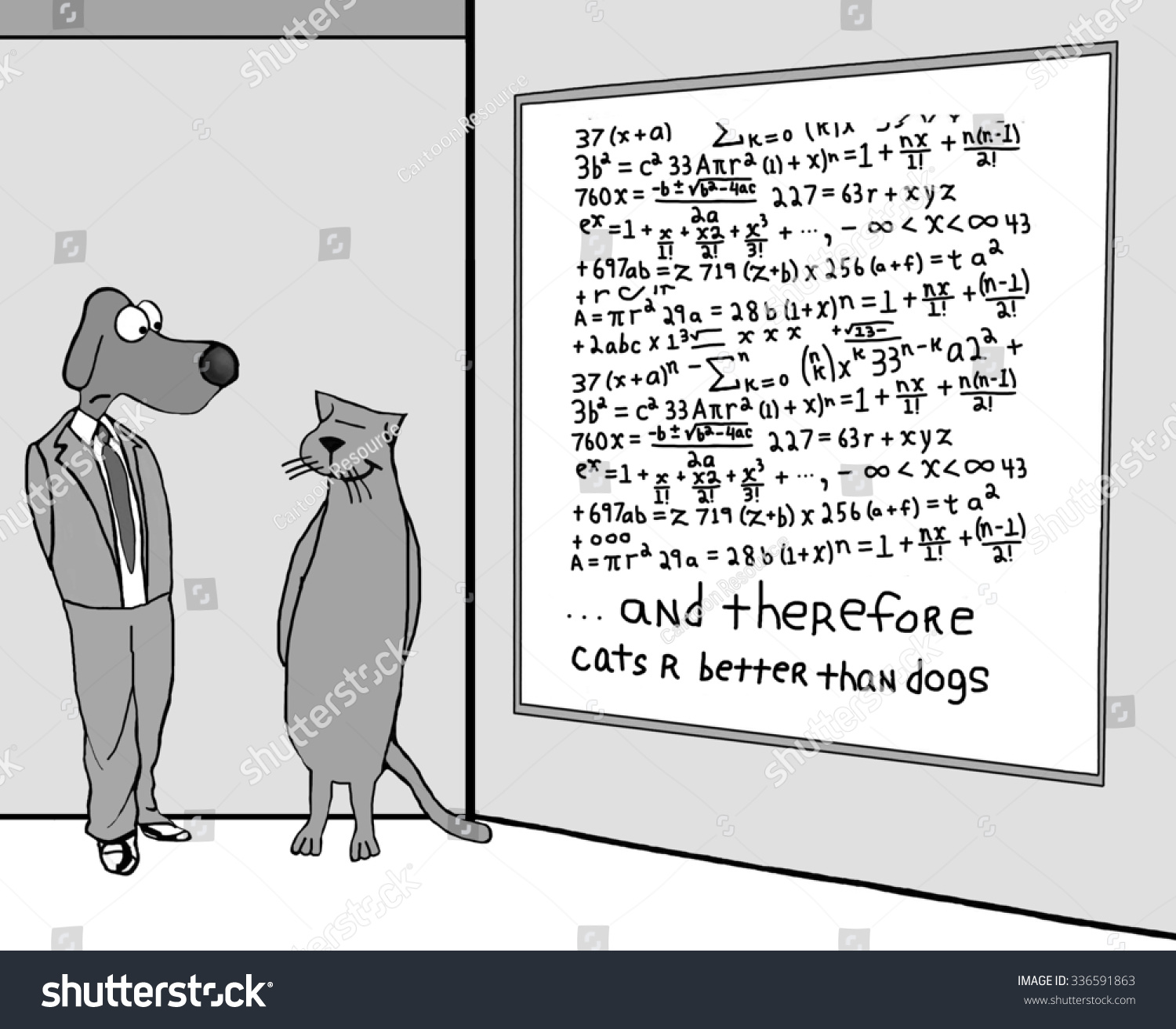 Animal Education And Business Cartoon Of A Dog Cat And Whiteboard Filled With Complex