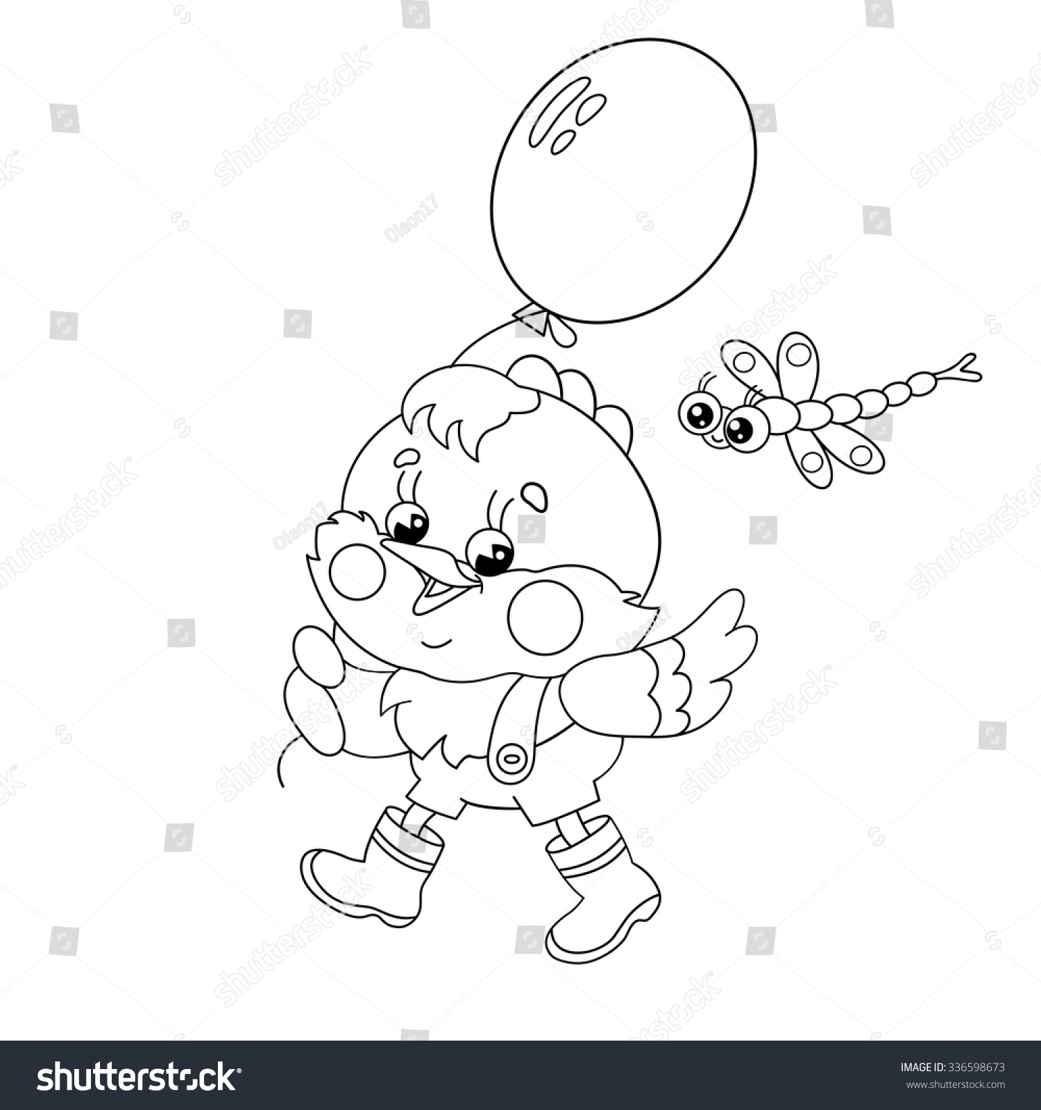 coloring page outline happy chicken walking stock vector 336598673