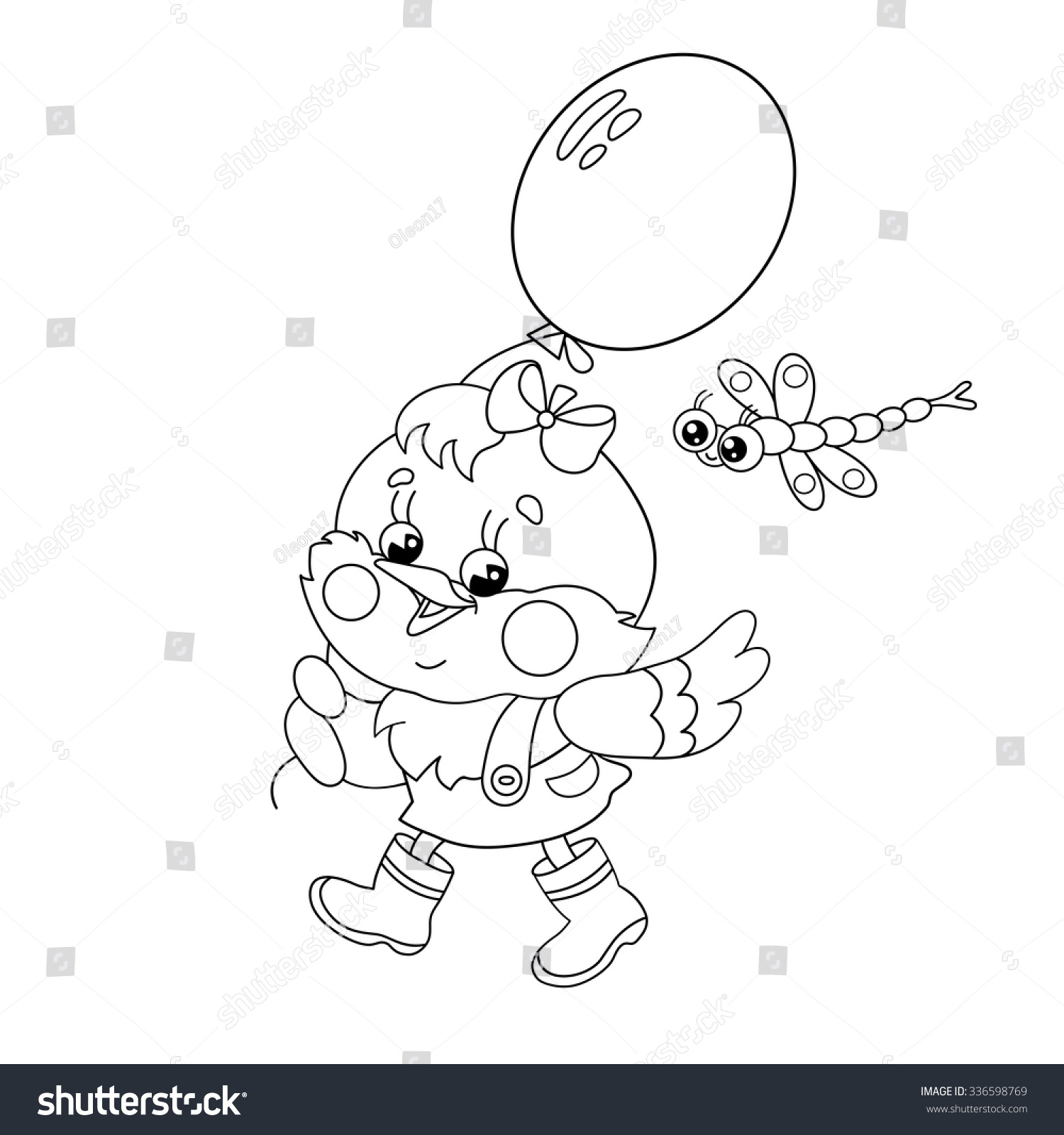 Coloring Page Outline Happy Chicken Walking Stock Vector