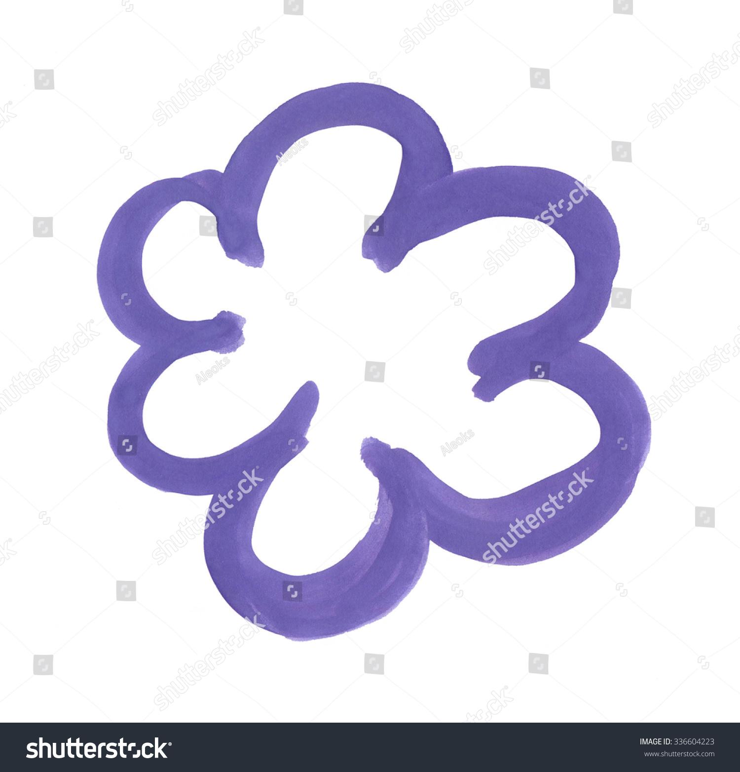 Frame Purple Wavy Line Painted Gouache Stock Illustration 336604223