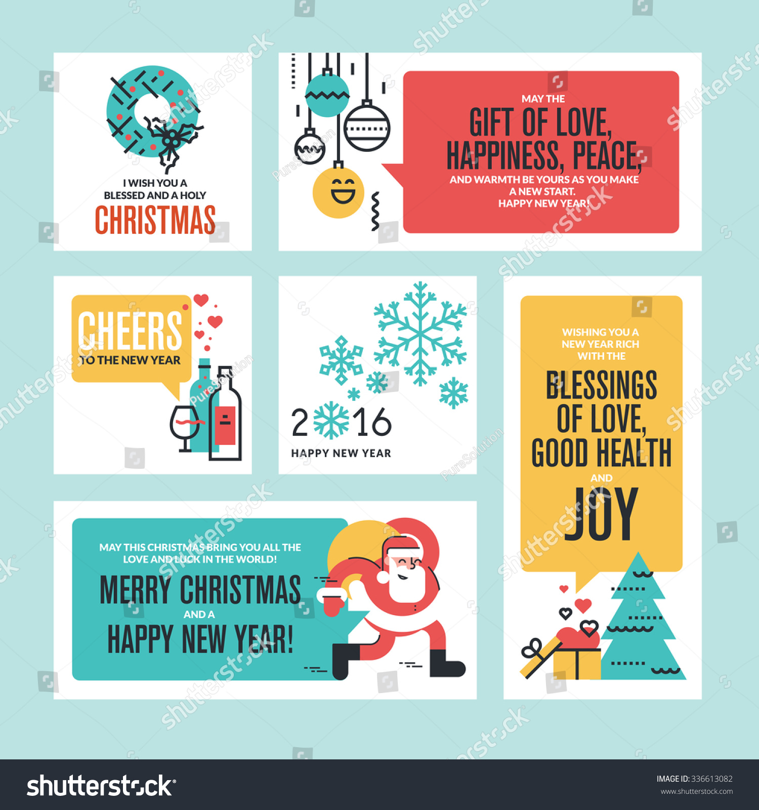 Christmas new year greeting cards banners stock vector royalty free christmas and new year greeting cards and banners set of flat line design vector illustrations m4hsunfo