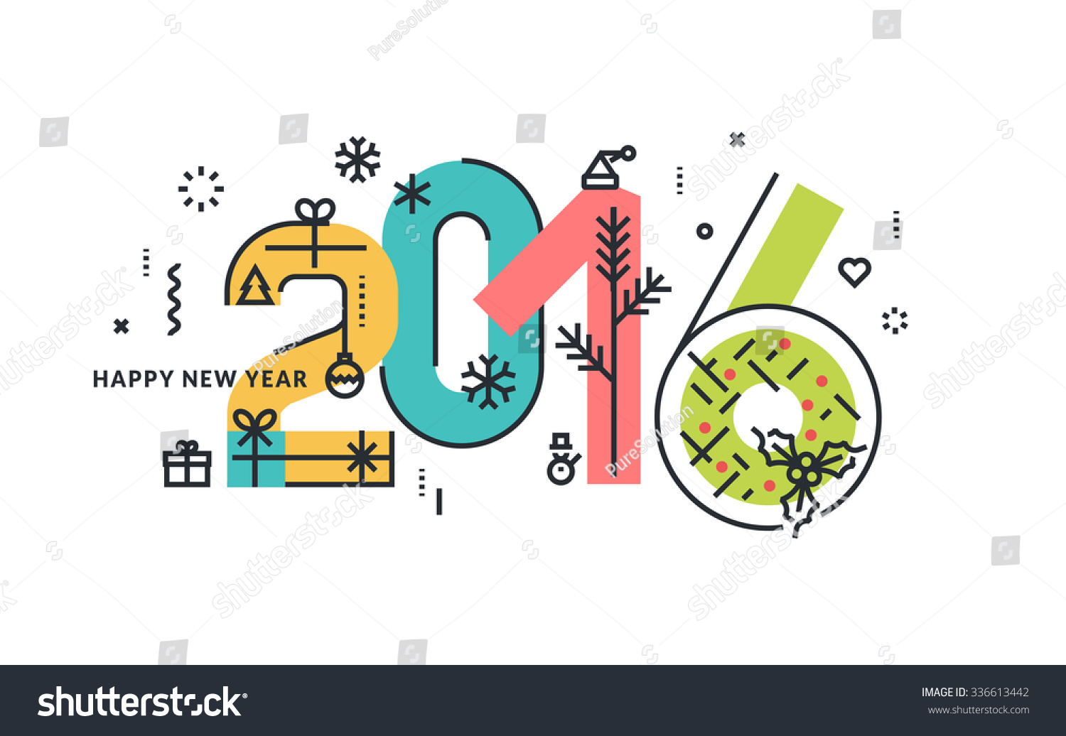 New Year and Christmas flat line design concept for greeting card and banner