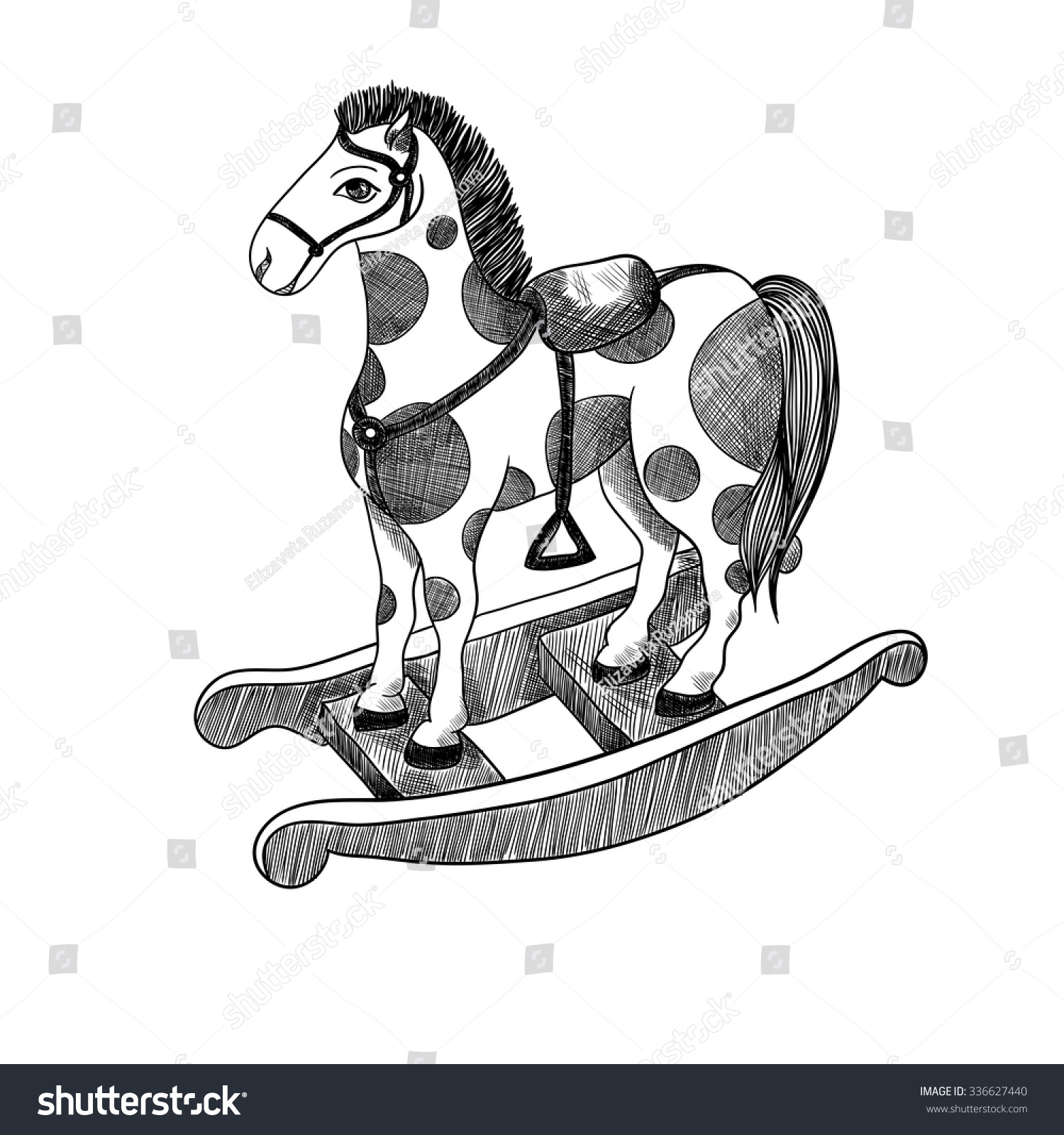 Rocking Horse Vintage Toy Vector Black Stock Vector Royalty Free 336627440