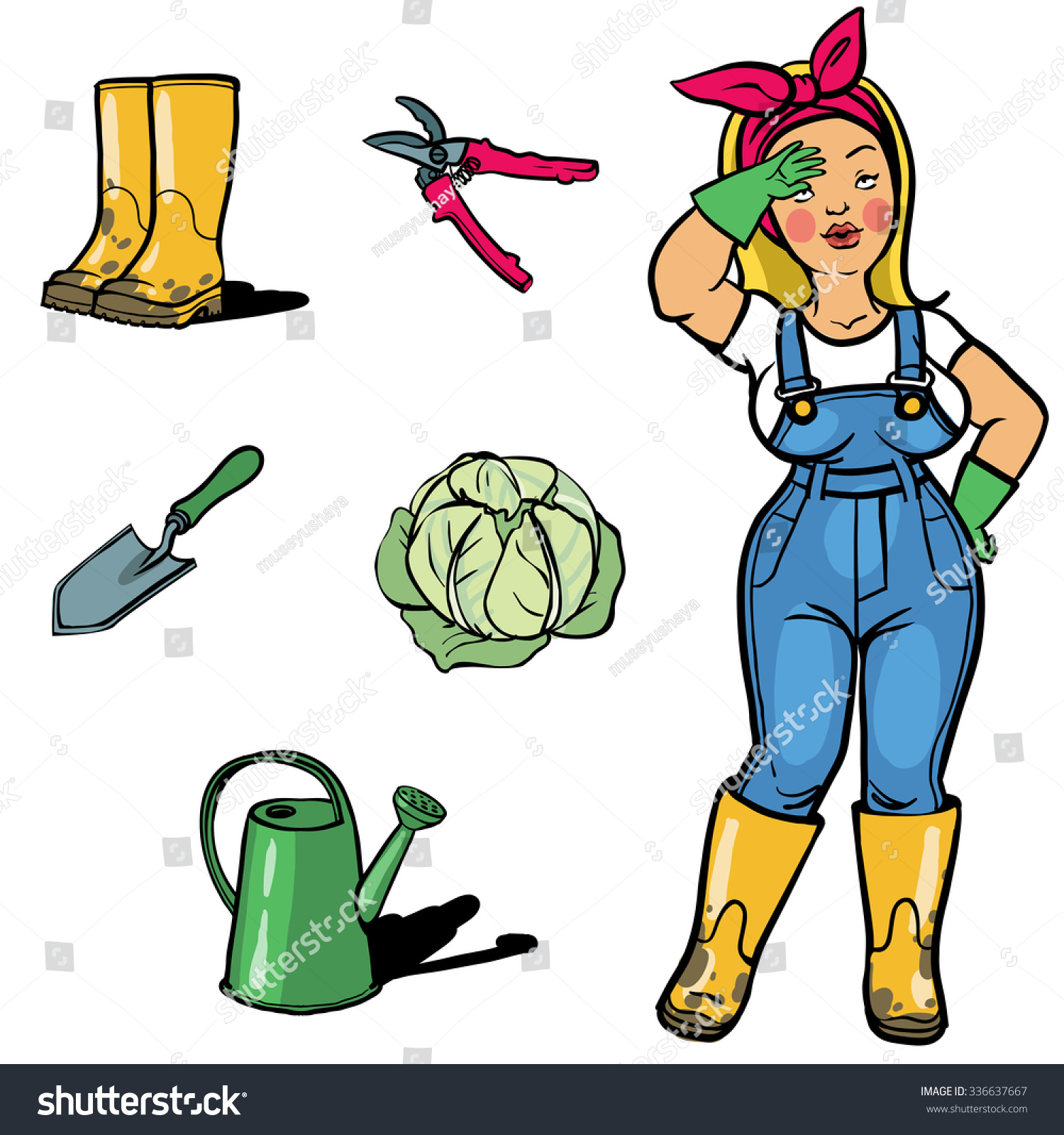 stock vector ve able gardener cartoon character sign ang garden tools a cartoon woman gardener tired after