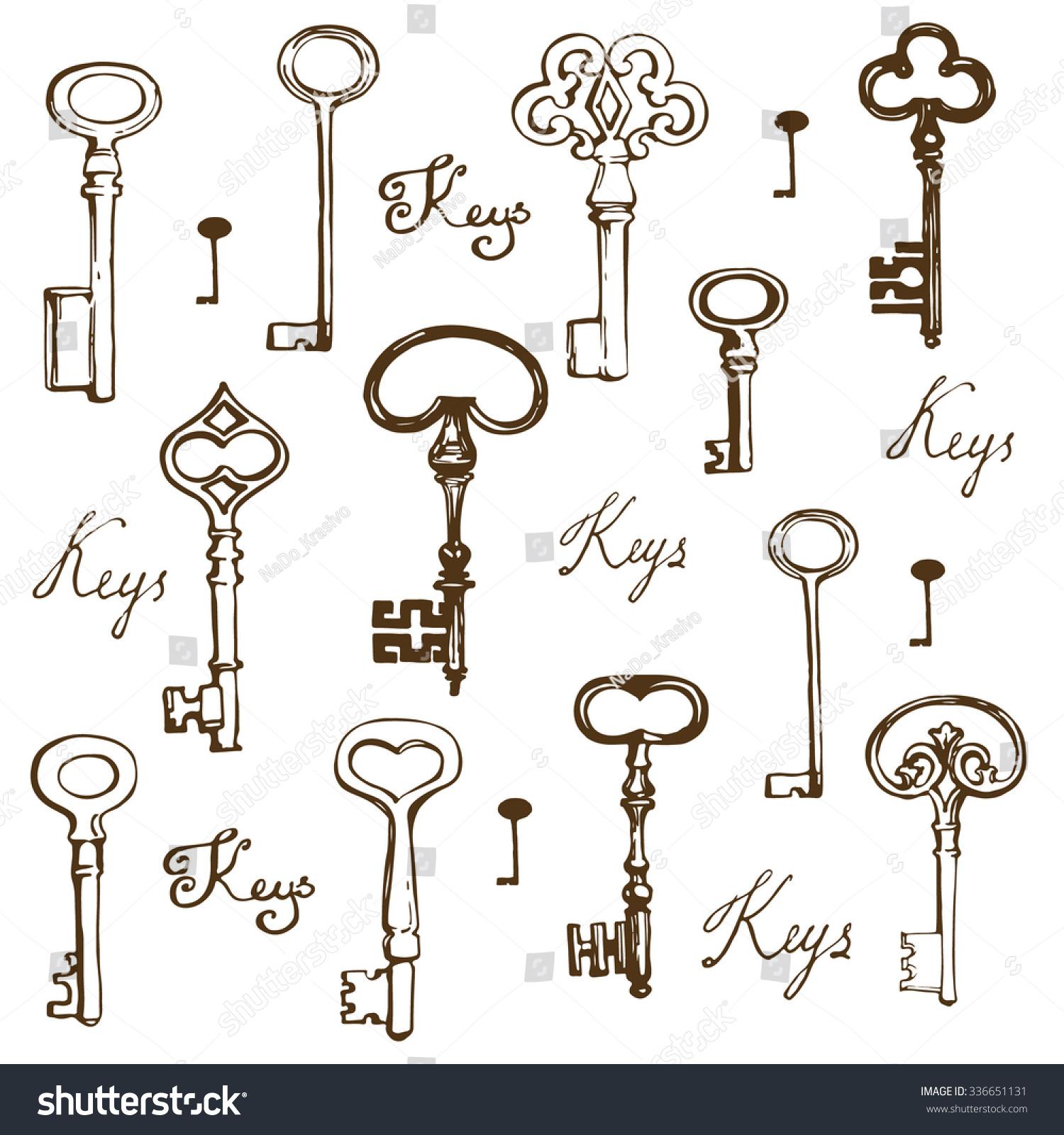 Vector Key Illustration: Hand Drawn Keys Set Vector Illustration Stock Vector