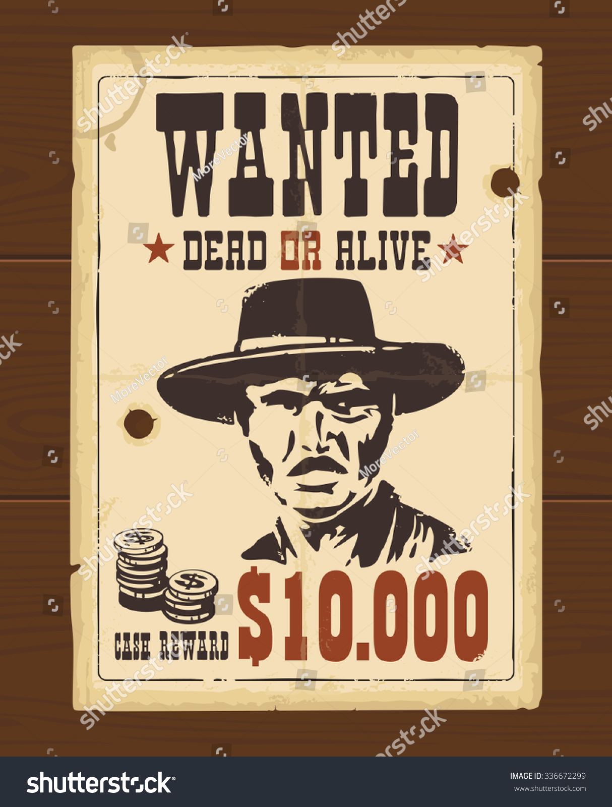 Vector Vintage Western Retro Wanted Poster Vector 336672299 – Western Poster Template