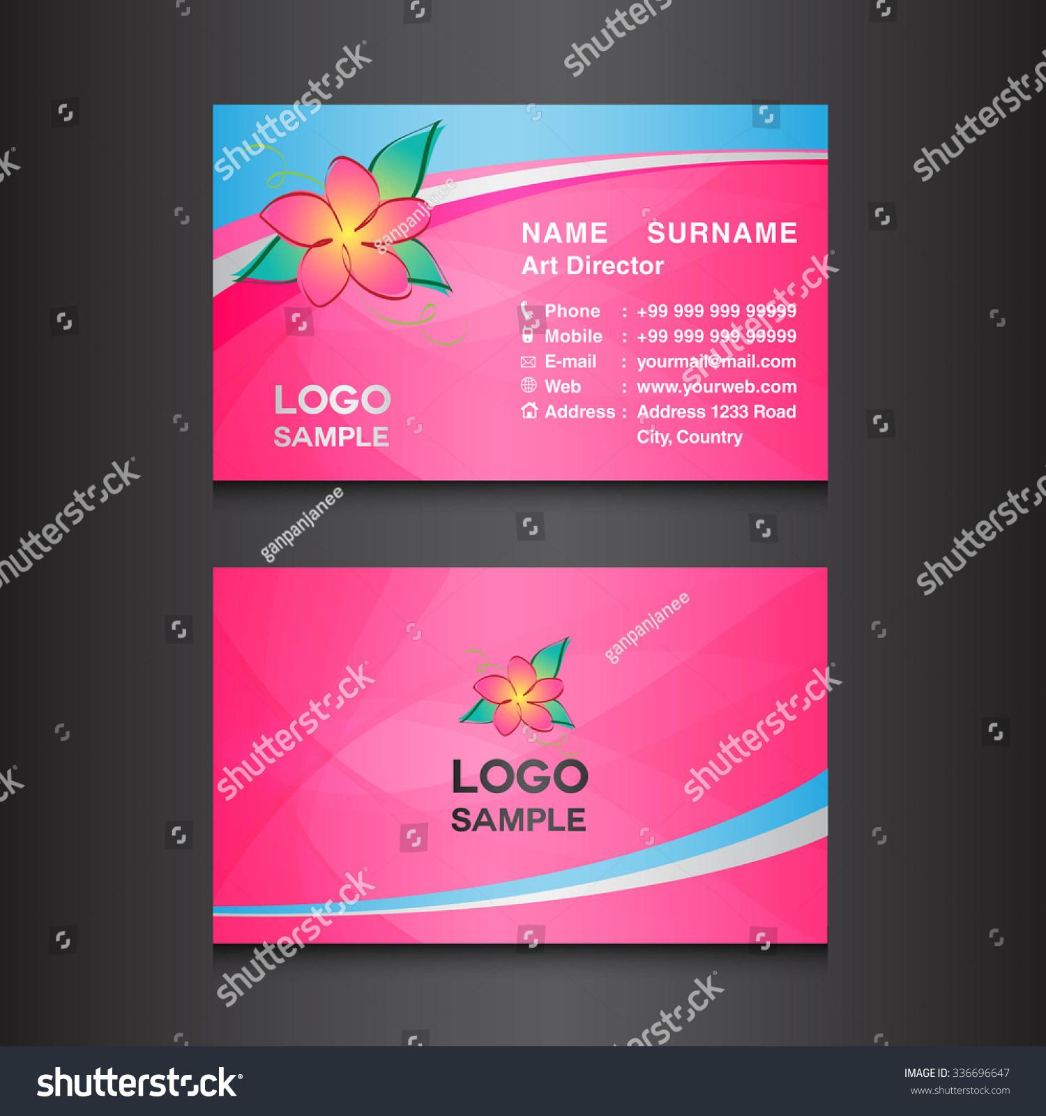 Pink Flower Business Card Designcard Design Stock Vector 336696647 ...