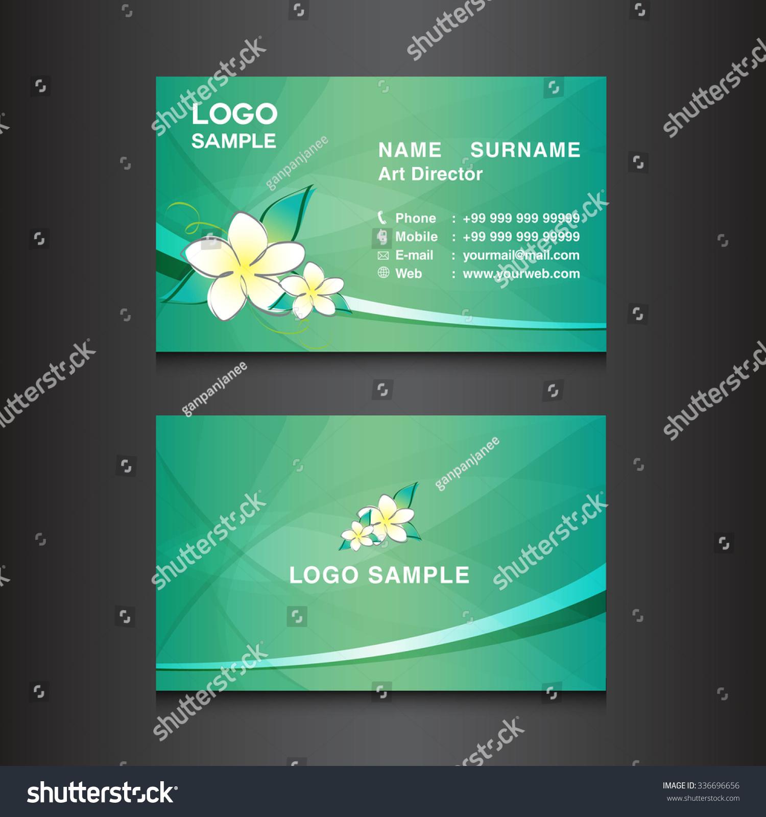 Green Business Card Designcard Design Vector Stock Vector (2018 ...
