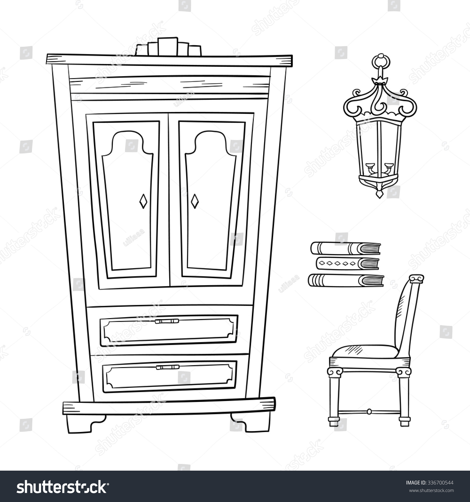 Antique chair drawing - Antique Furniture Set Closet Lamp Book And Chairs Isolated On A White Background