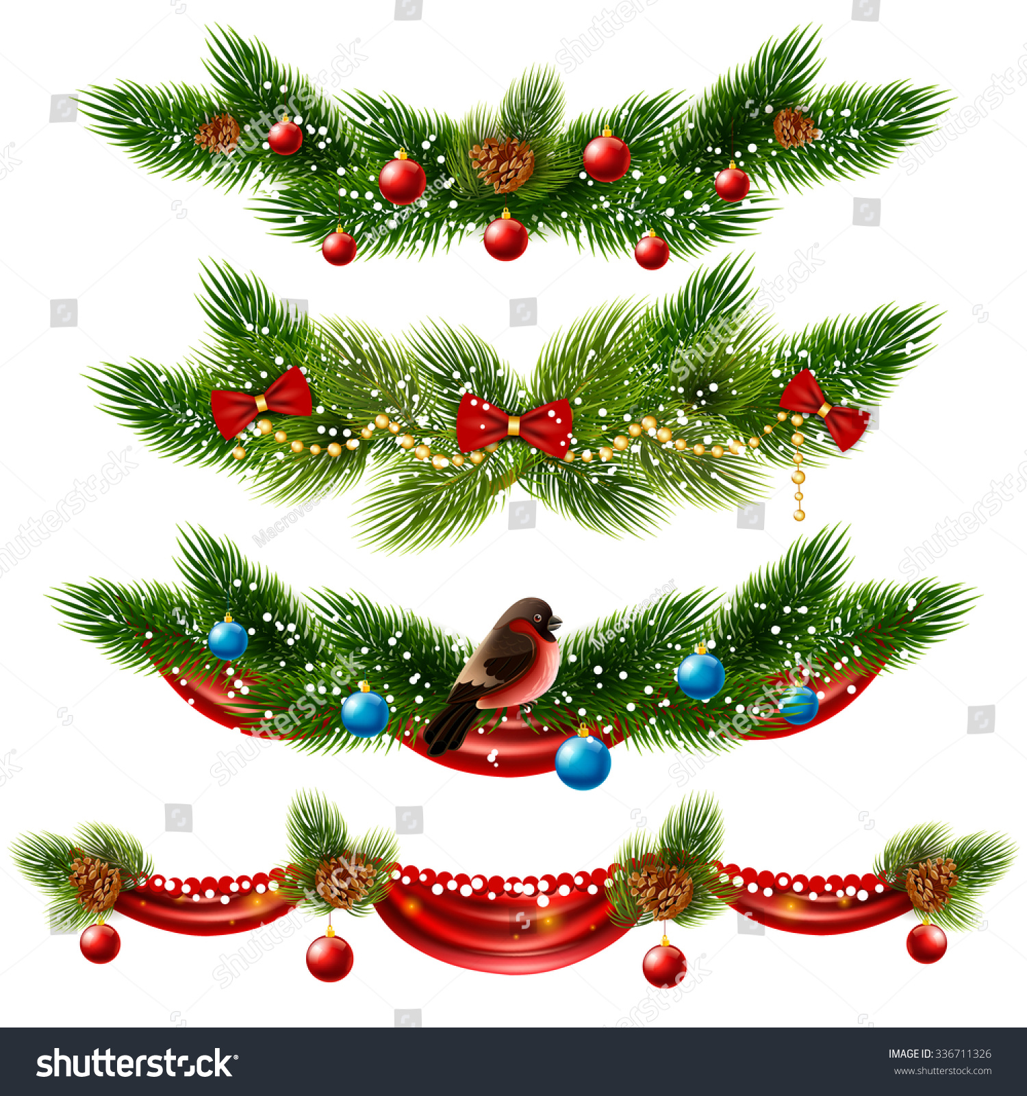 Christmas decorations borders - Christmas Realistic Borders Set With Pine Tree And Decorations Isolated Vector Illustration